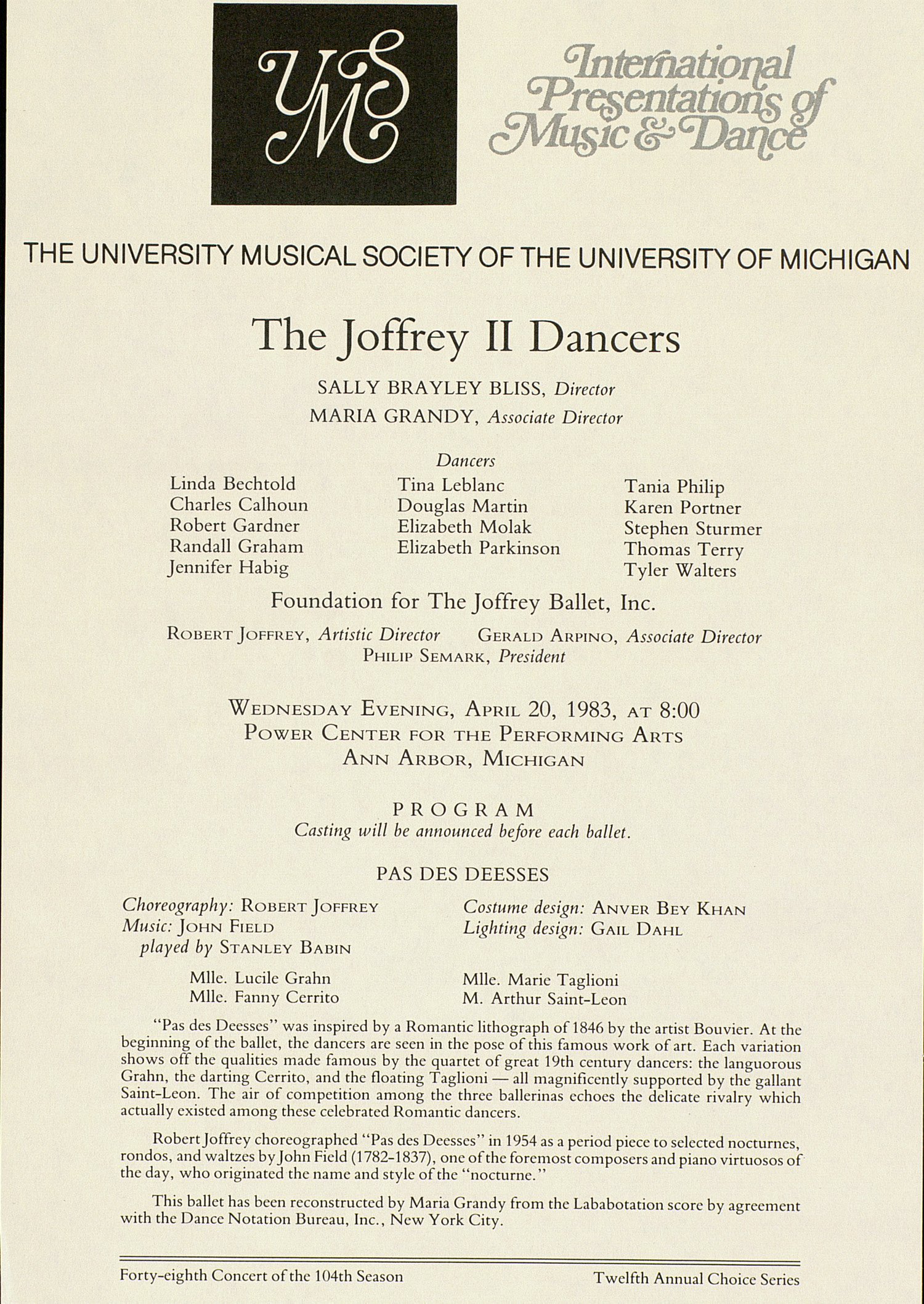 UMS Concert Program, April 20, 1983: The Joffrey II Dancers --  image