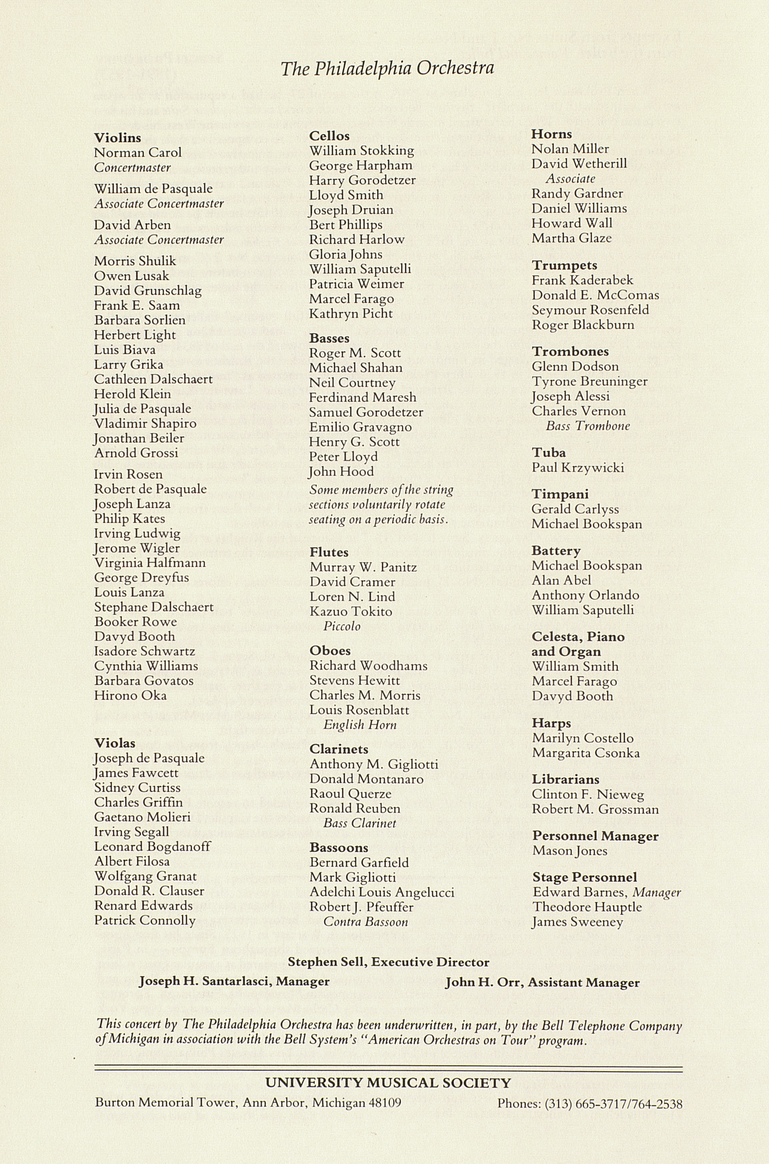 UMS Concert Program, April 27, 1983: Ninetieth Ann Arbor May Festival 1983 -- The Philadelphia Orchestra image