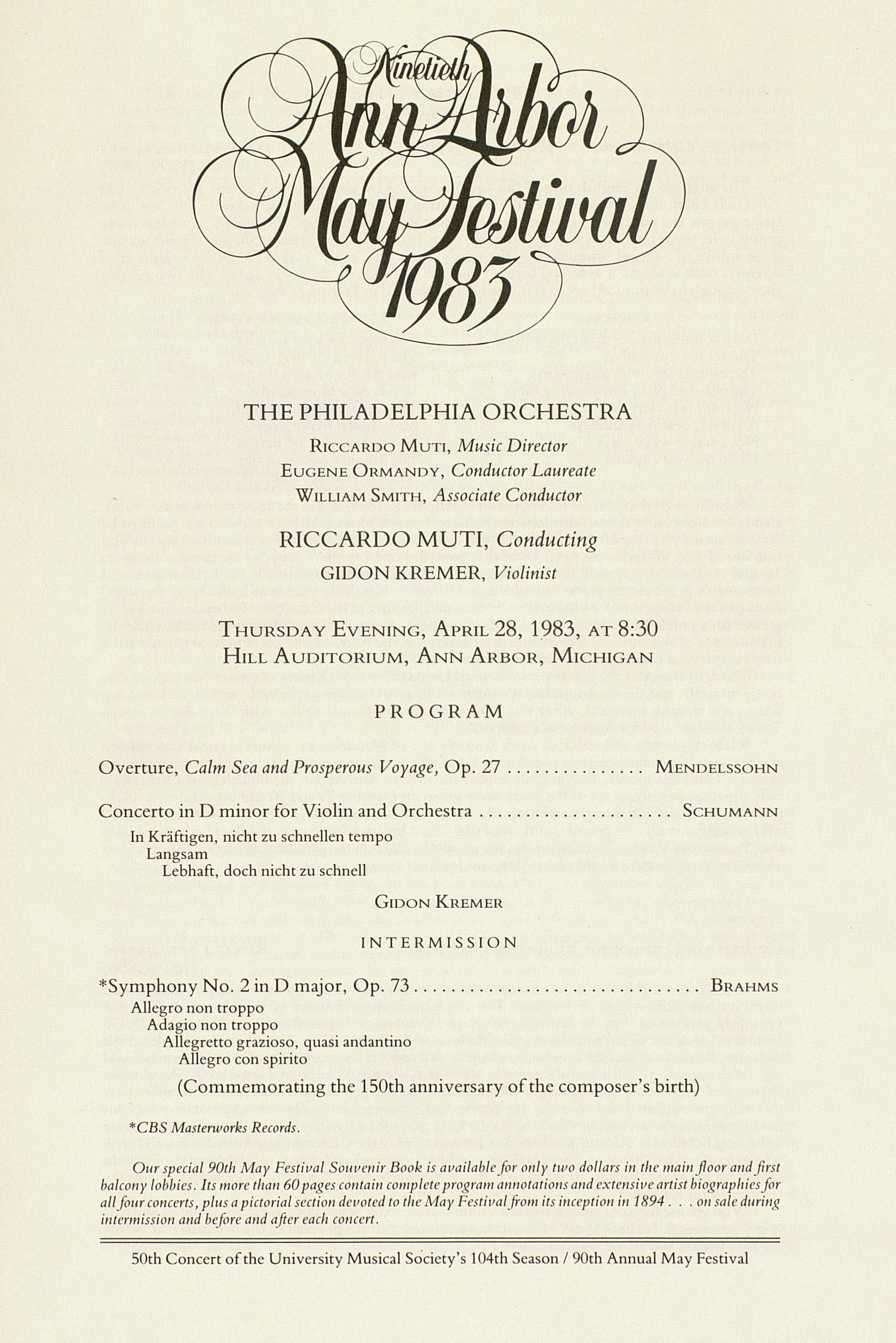 UMS Concert Program, April 28, 1983: Ninetieth Ann Arbor May Festival 1983 -- The Philadelphia Orchestra image