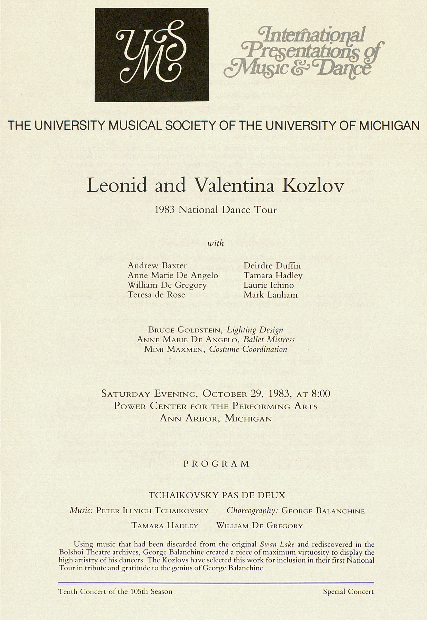 UMS Concert Program, October 29, 1983: Leonid And Valentina Kozlov --  image