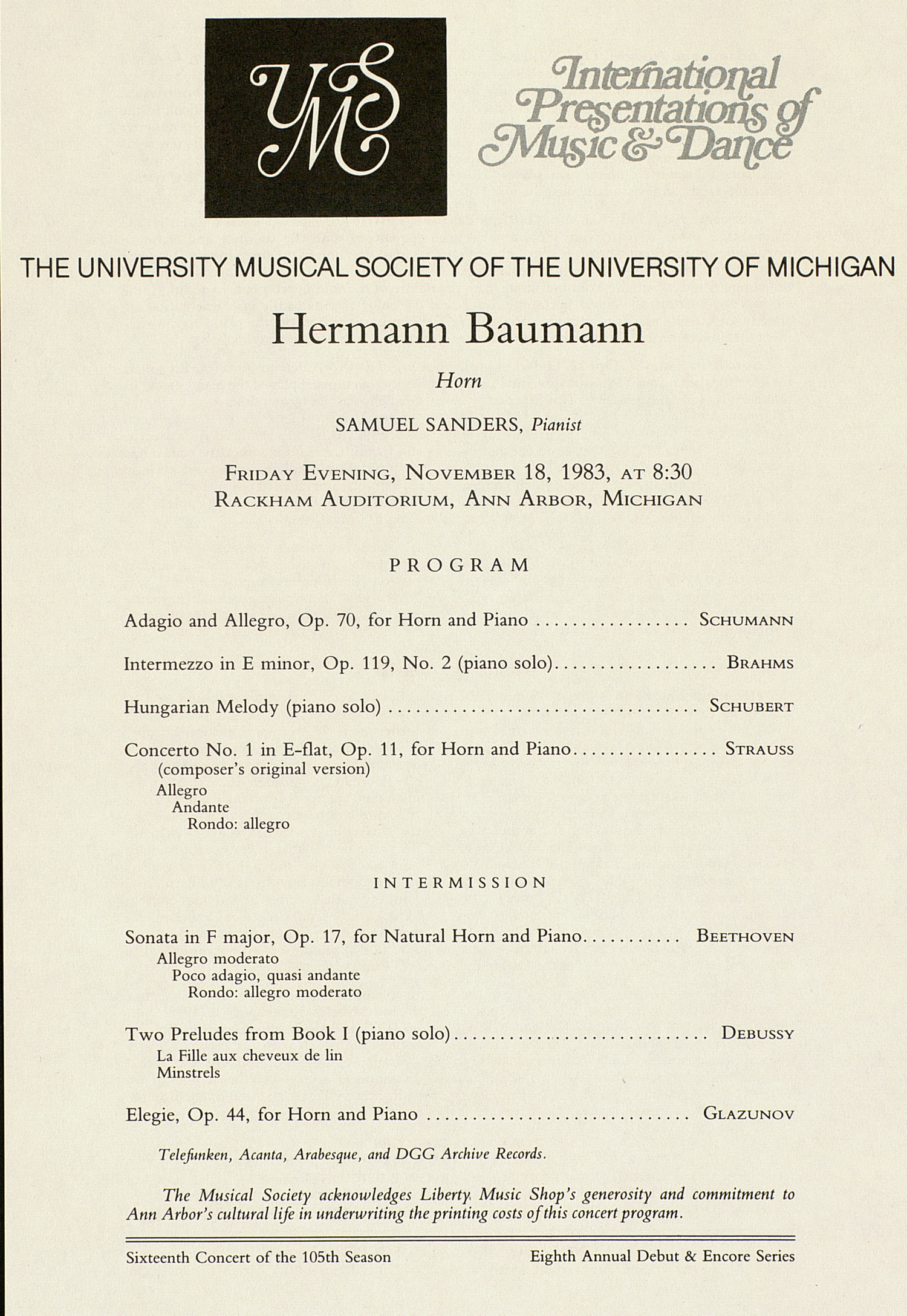UMS Concert Program, November 18, 1983: International Presentations Of Music & Dance --  image