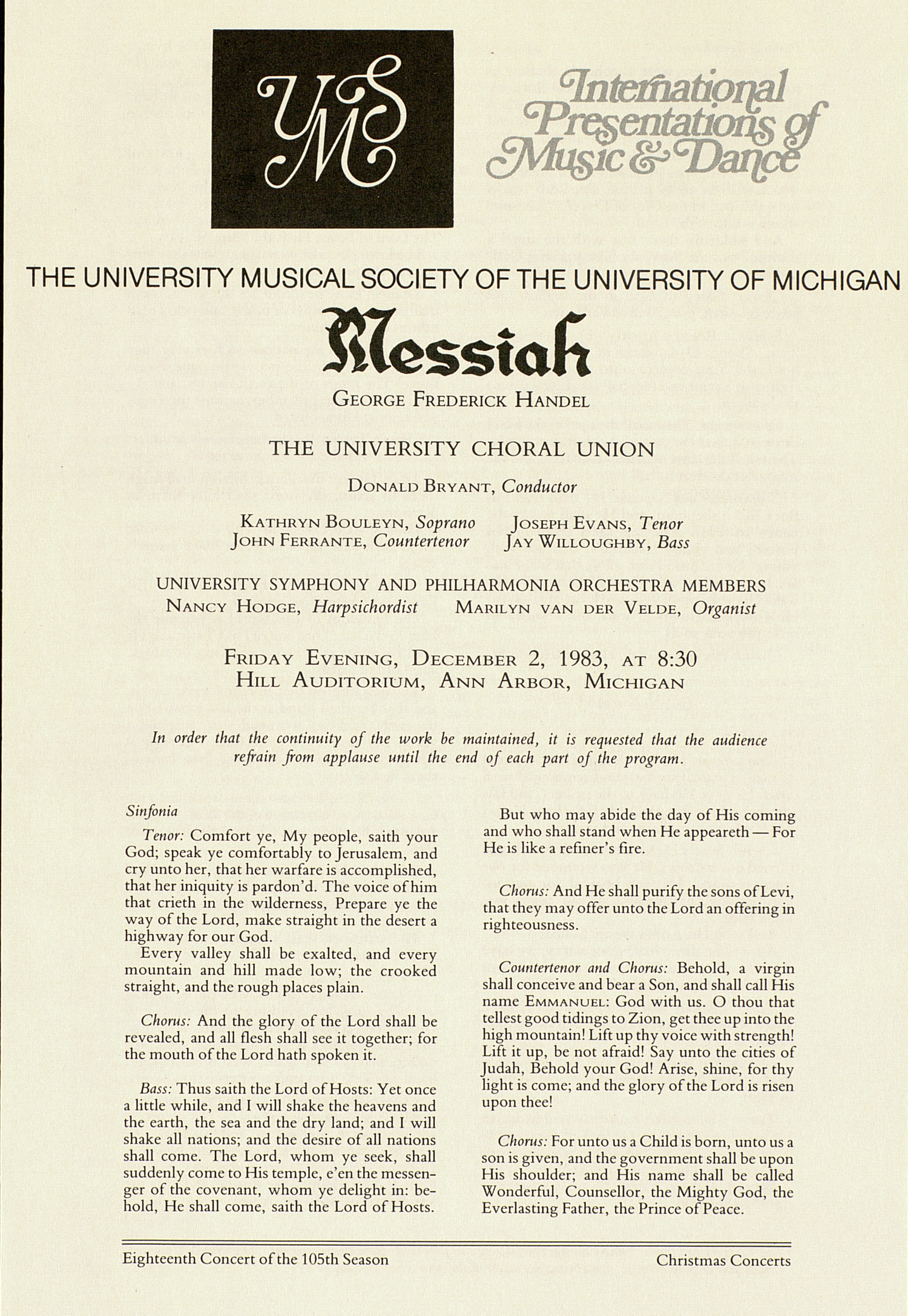 UMS Concert Program, December 2, 1983: Messiah -- George Frederick Handel image
