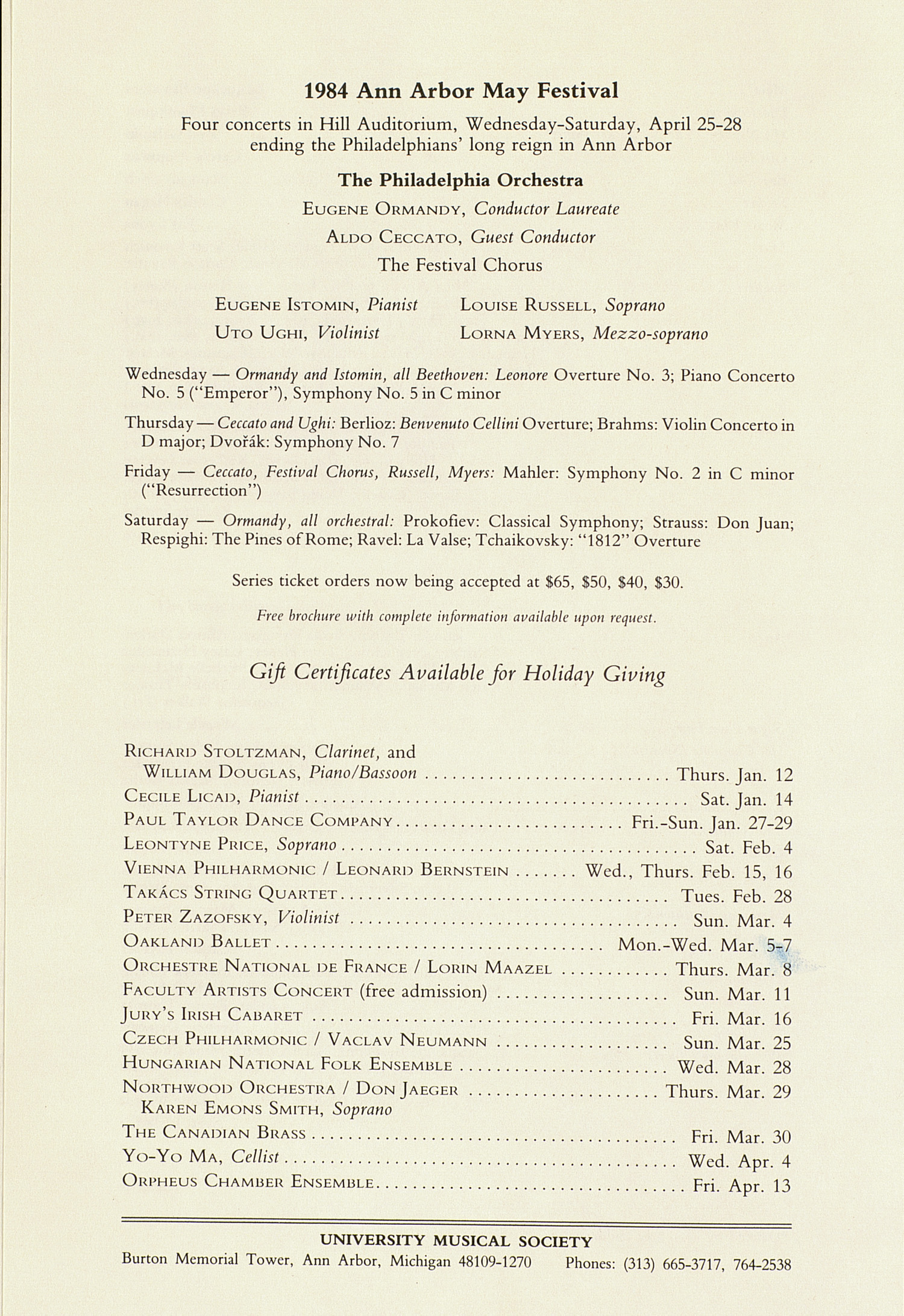 UMS Concert Program, December 17, 1983: International Presentations Of Music & Dance -- The Pittsburgh Ballet Theatre image