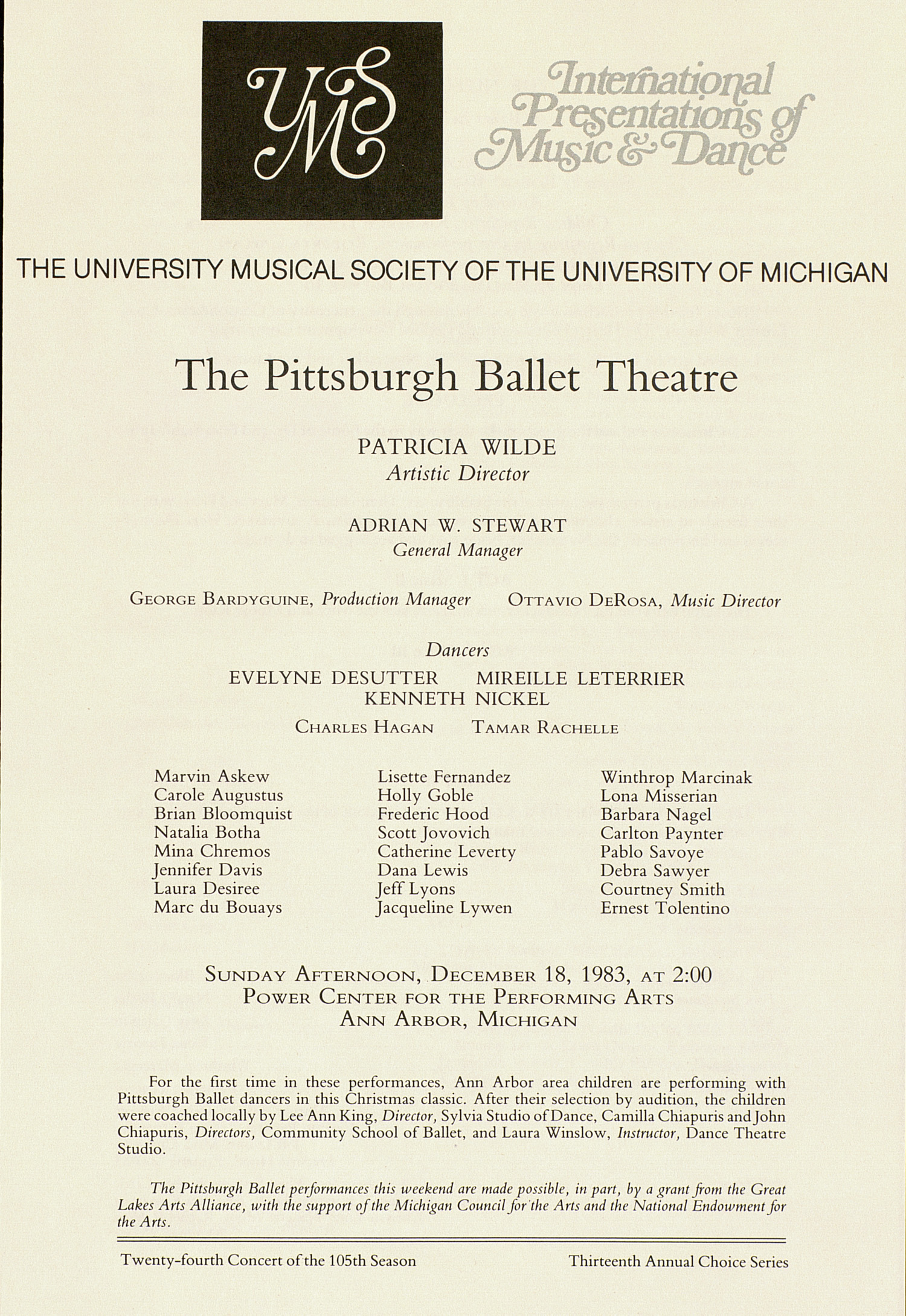 UMS Concert Program, December 18, 1983: International Presentations Of Music & Dance -- The Pittsburgh Ballet Theatre image