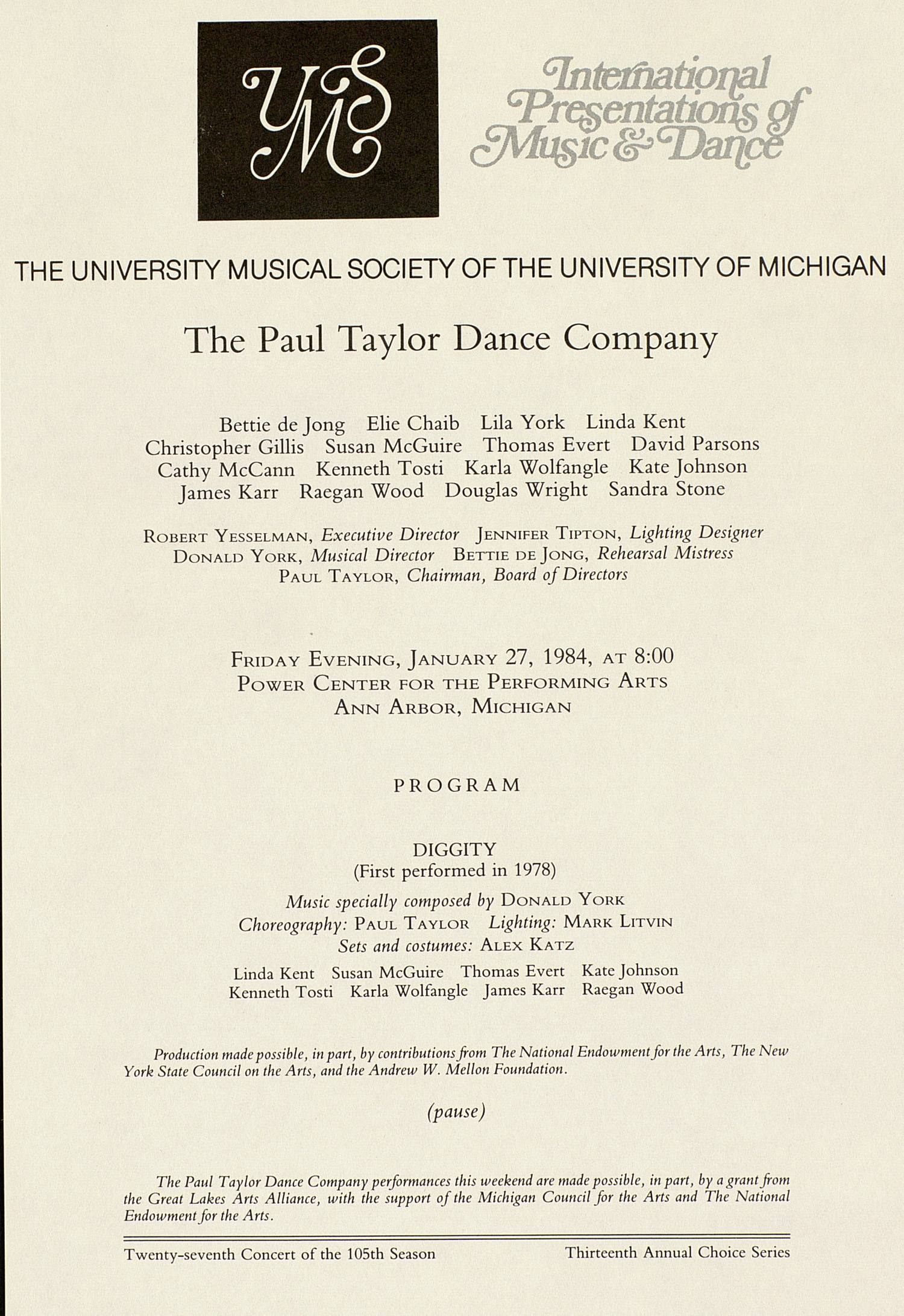 UMS Concert Program, January 27, 1984: International Presentations Of Music & Dance -- The Paul Taylor Dance Company image