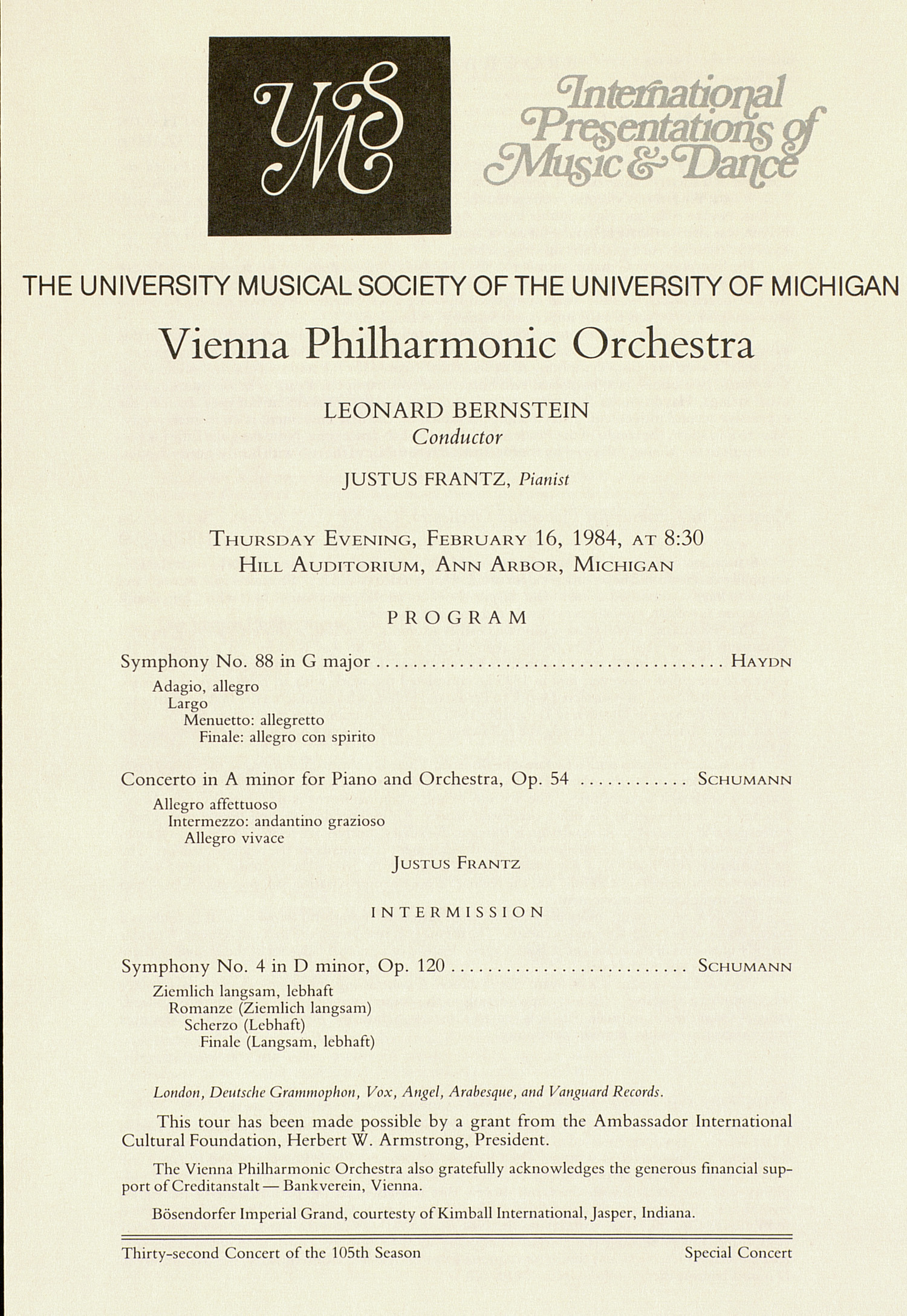 UMS Concert Program, February 16, 1984: International Presentations Of Music & Dance -- Vienna Philharmonic Orchestra image