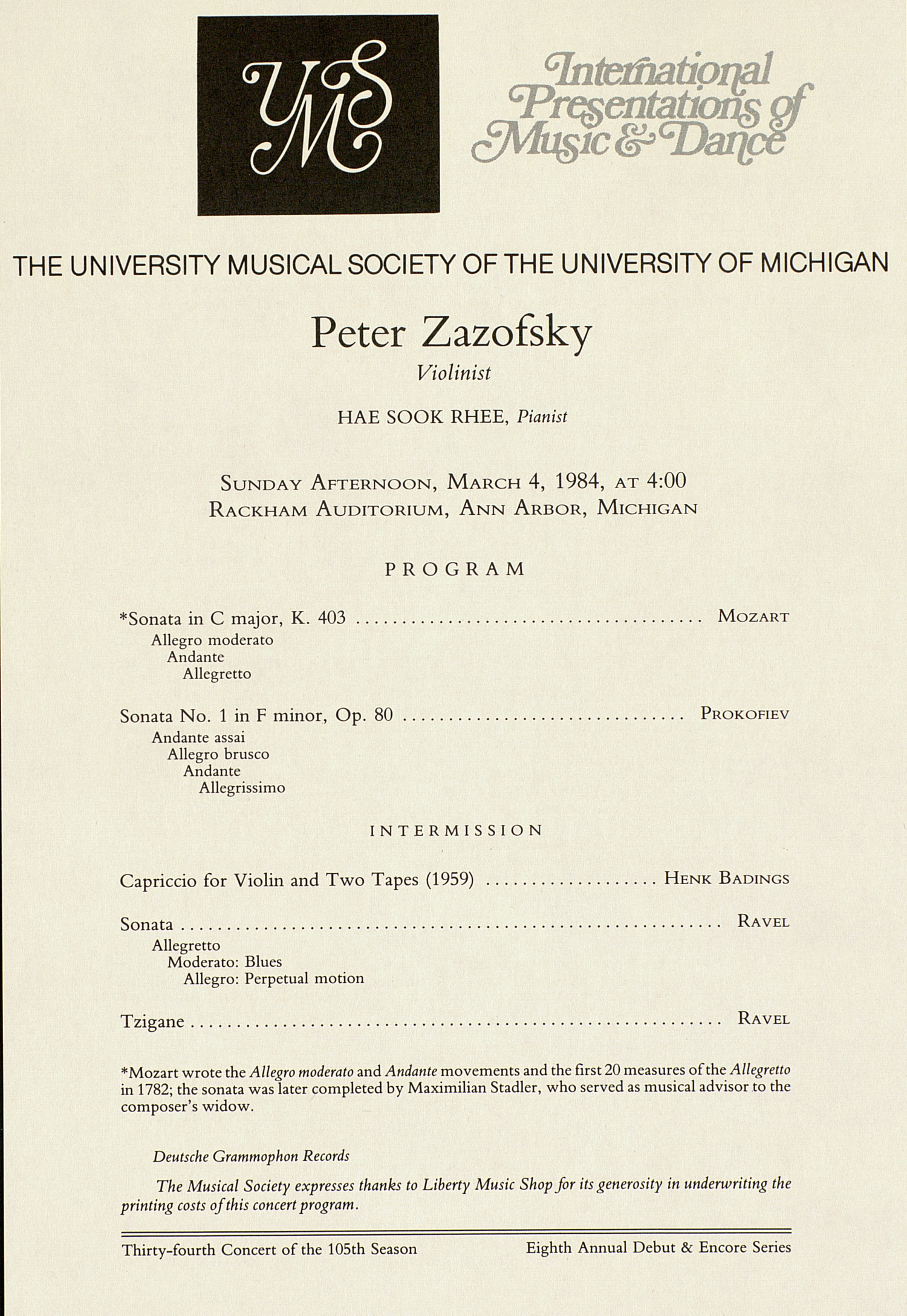 UMS Concert Program, March 4, 1984: International Presentations Of Music & Dance --  image