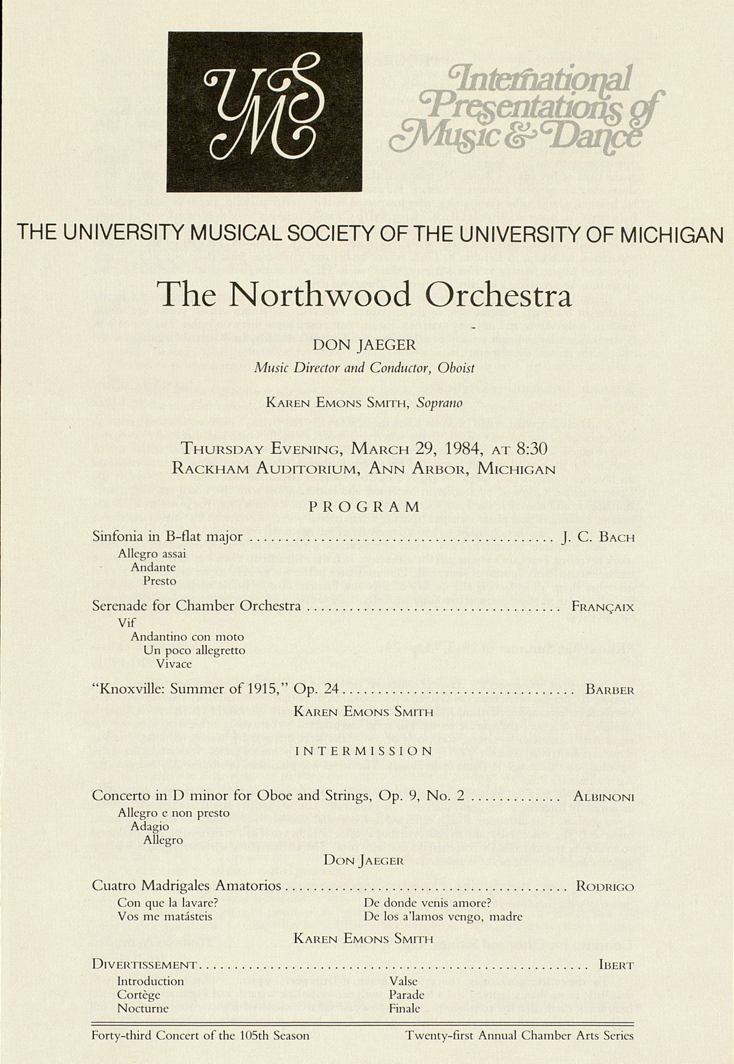 UMS Concert Program, March 29, 1984: International Presentations Of Music & Dance -- The Northwood Orchestra image