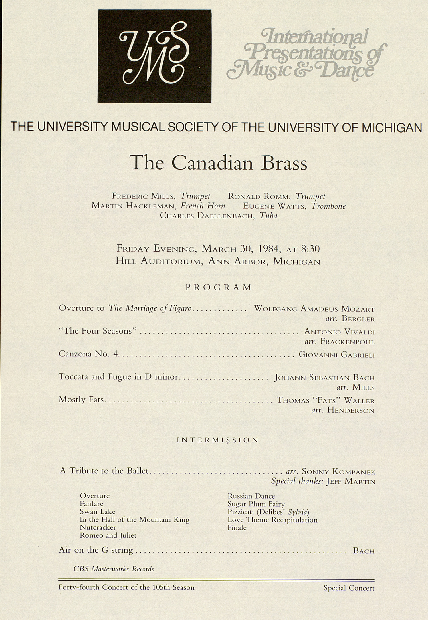 UMS Concert Program, March 30, 1984: The Canadian Brass --  image