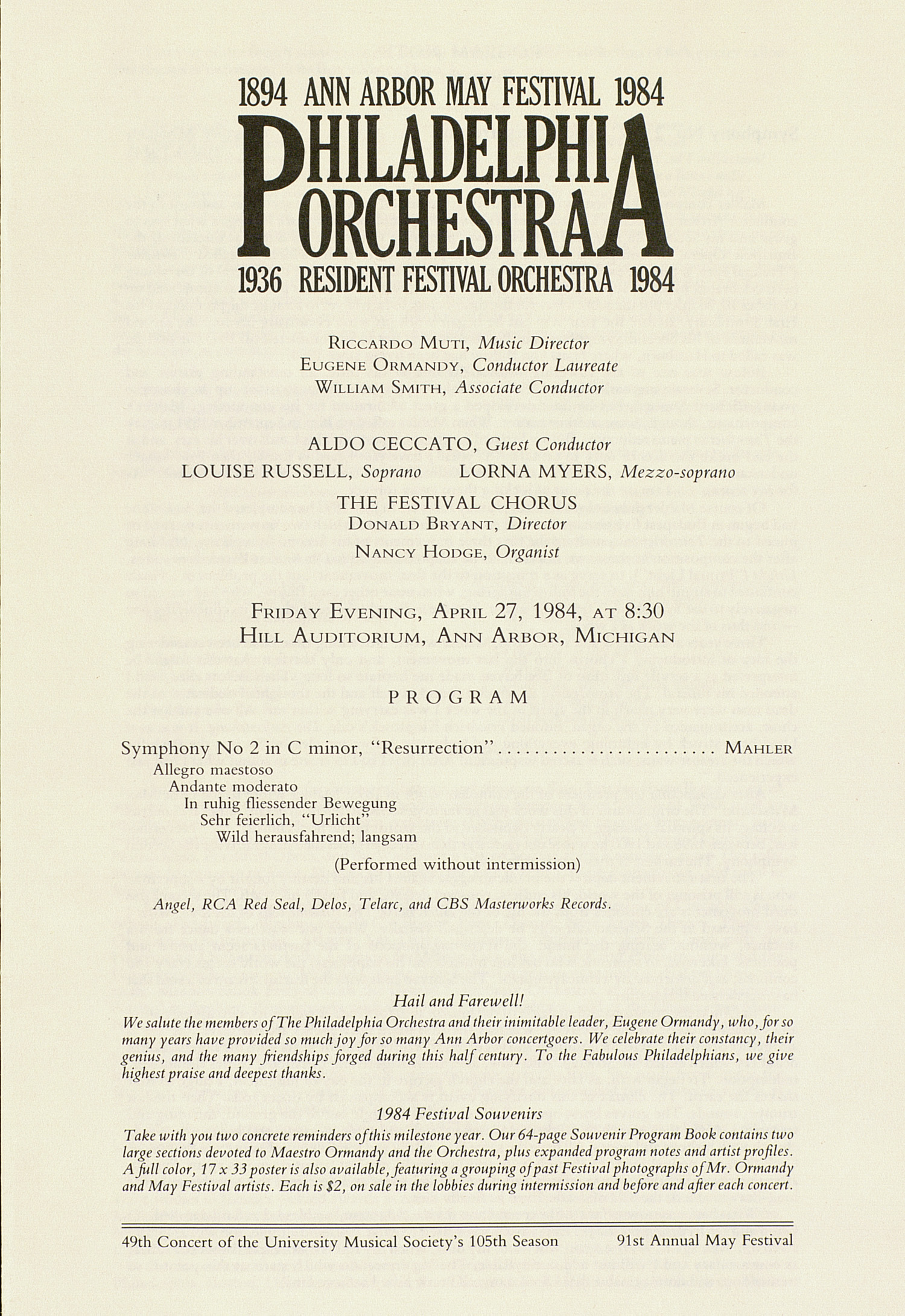 UMS Concert Program, April 27, 1984: Ann Arbor May Festival -- Philadelphia Orchestra image