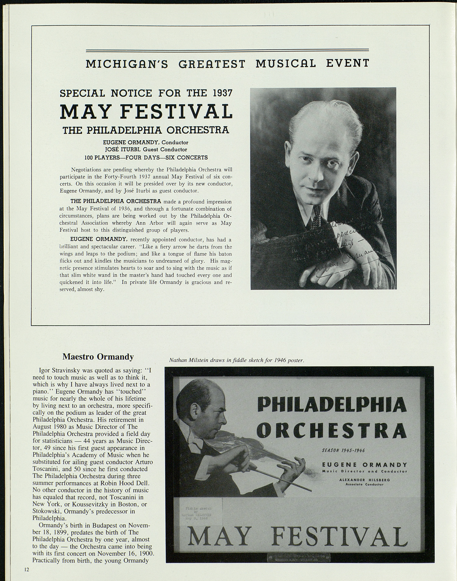 UMS Concert Program, April 25, 26, 27, 28: Ann Arbor May Festival -- Philadelphia Orchestra image