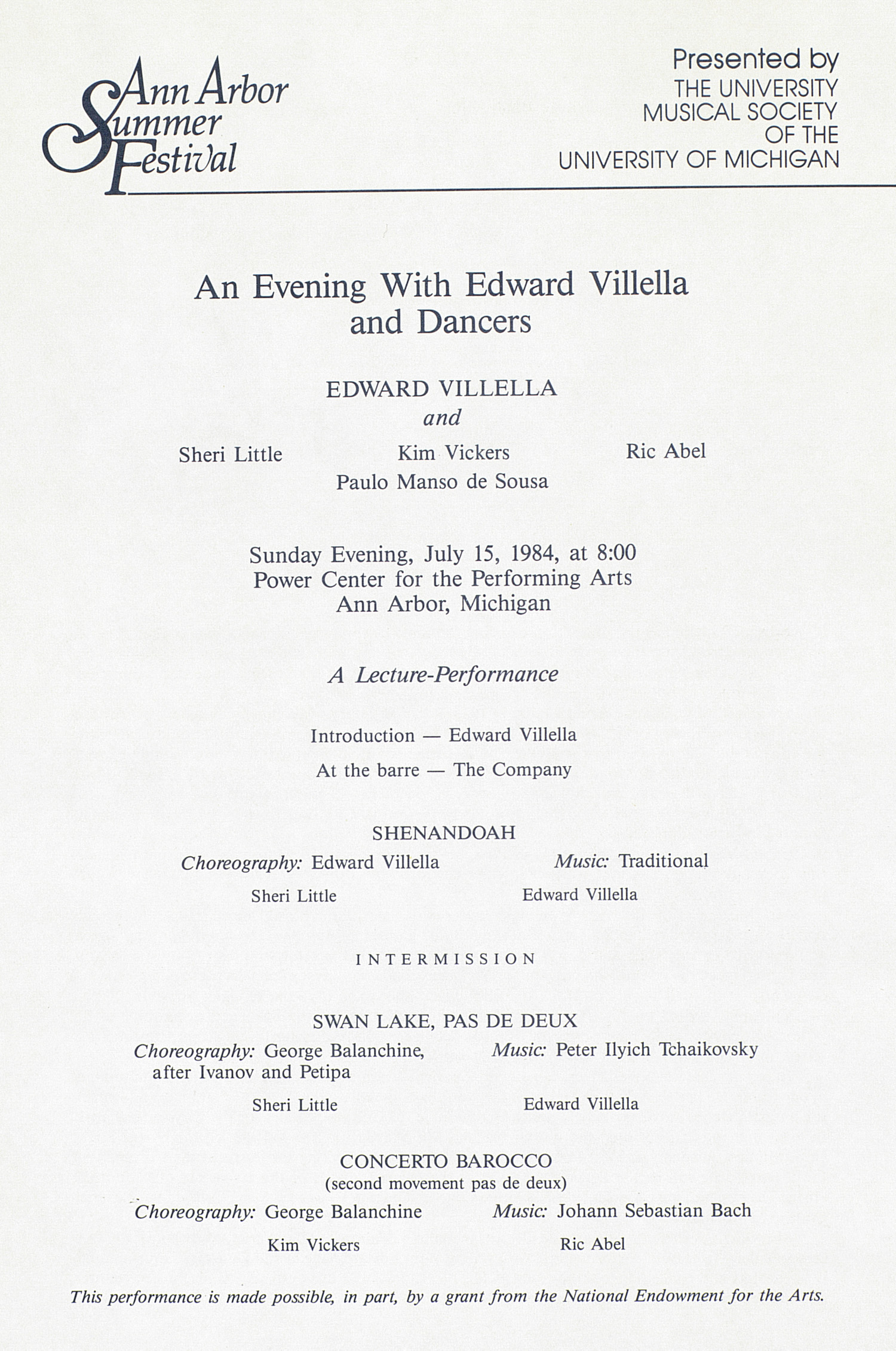 UMS Concert Program, July 15, 1984: Ann Arbor Summer Festival -- An Evening With Edward Villella And Dancers image
