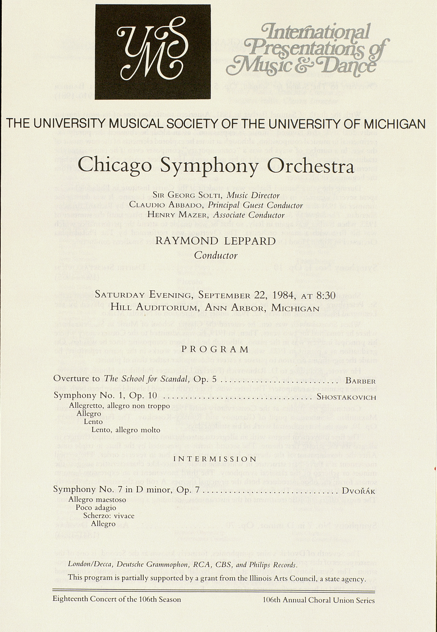 UMS Concert Program, September 22, 1984: International Presentations Of Music & Dance -- Chicago Symphony Orchestra image