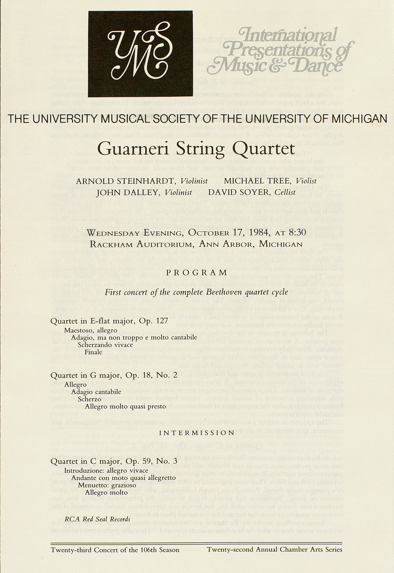 UMS Concert Program, October 17, 1984: Guarneri String Quartet --  image