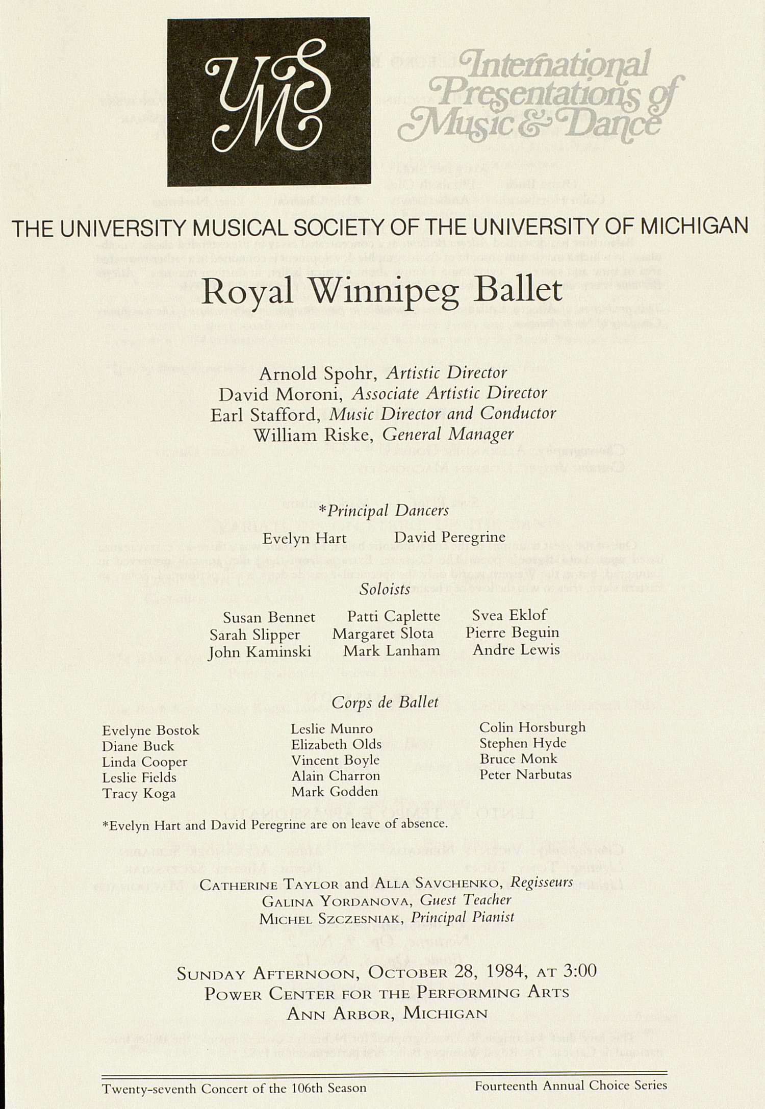 UMS Concert Program, October 28, 1984: Royal Winnipeg Ballet --  image
