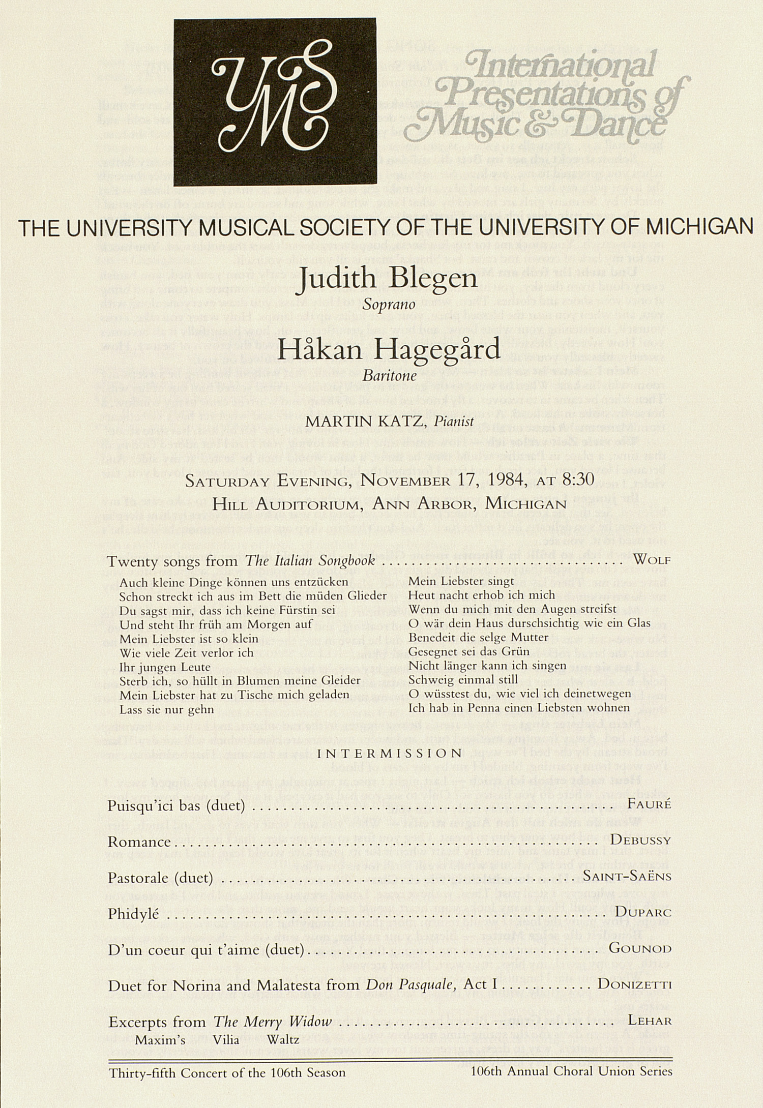 UMS Concert Program, November 17, 1984: International Presentations Of Music & Dance --  image