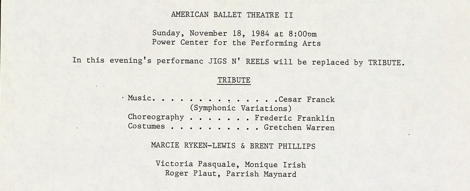 UMS Concert Program, November 18, 1984: American Ballet Theatre II --  image