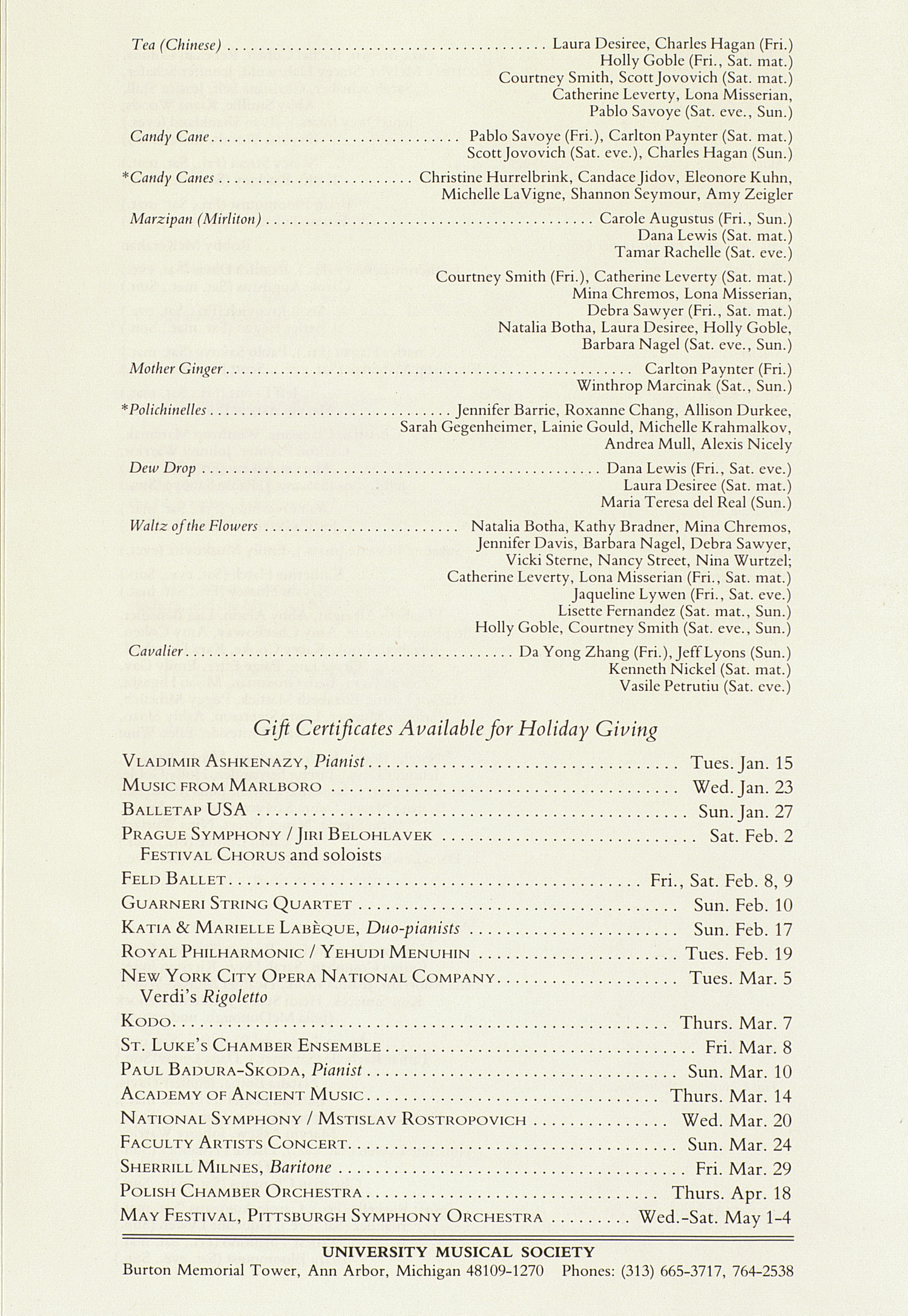 UMS Concert Program, December 15, 1984: The Pittsburgh Ballet Theatre --  image