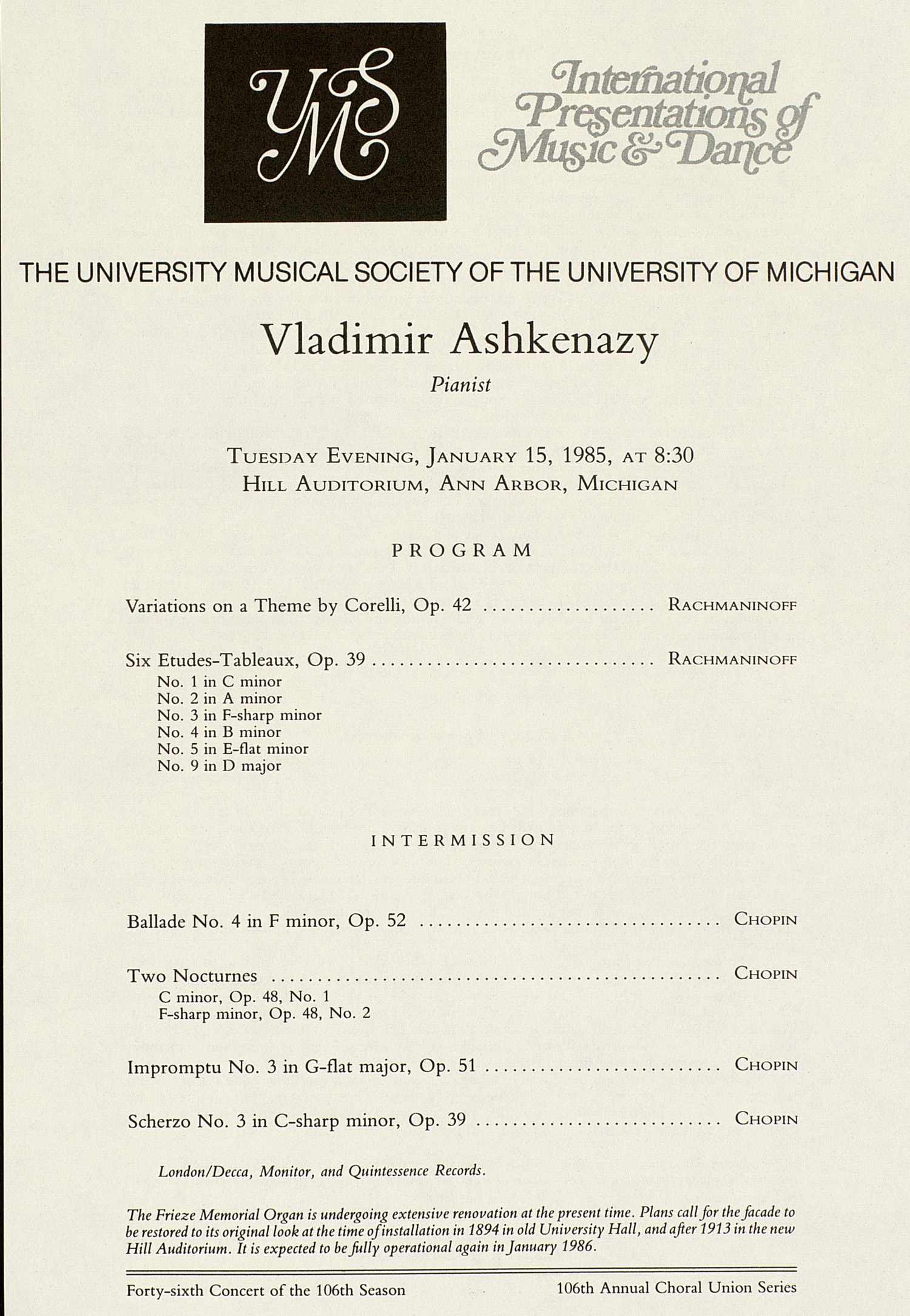UMS Concert Program, January 15, 1985: International Presentations Of Music & Dance --  image