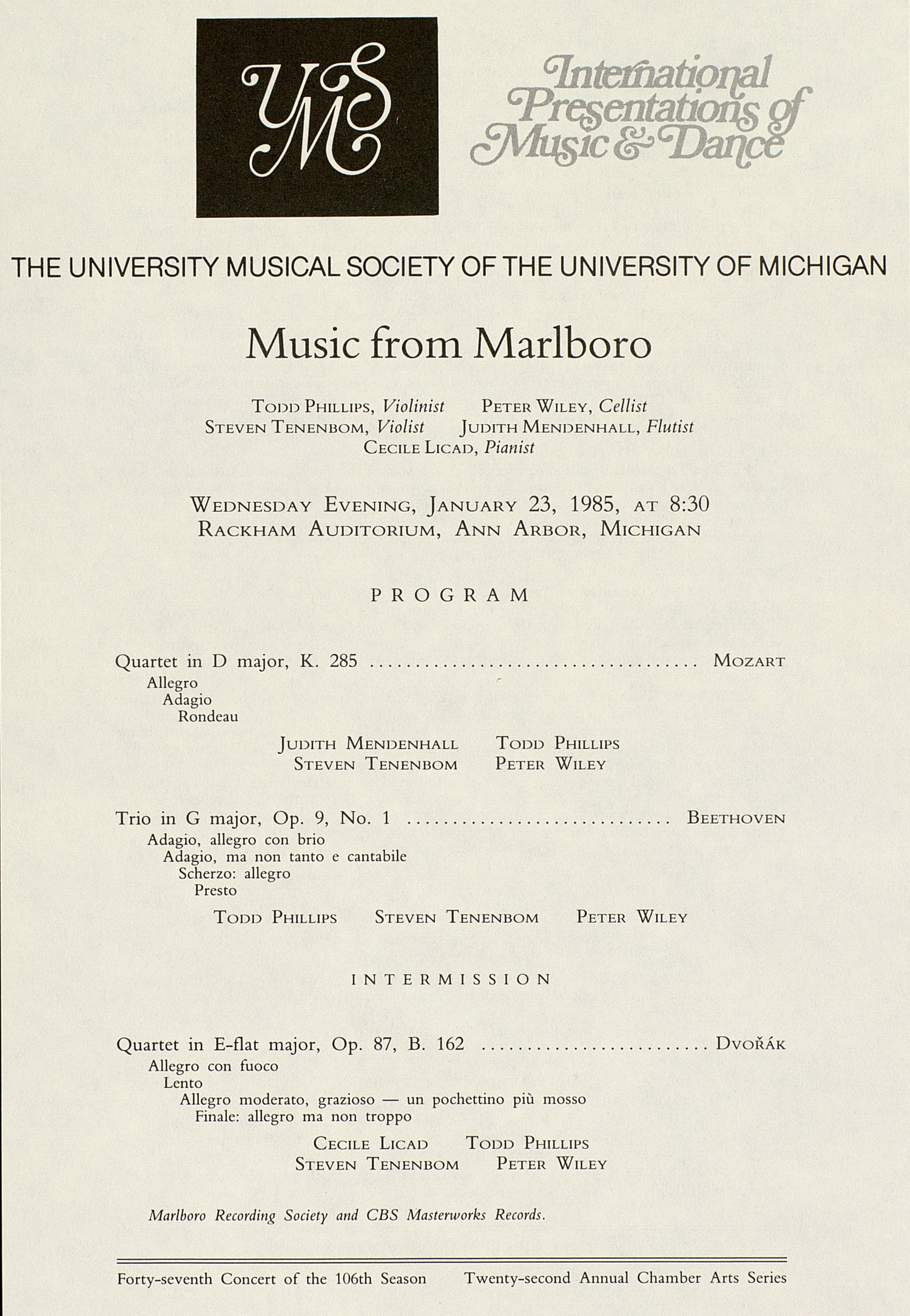 UMS Concert Program, January 23, 1985: International Presentations Of Music & Dance -- Music From Marlboro image
