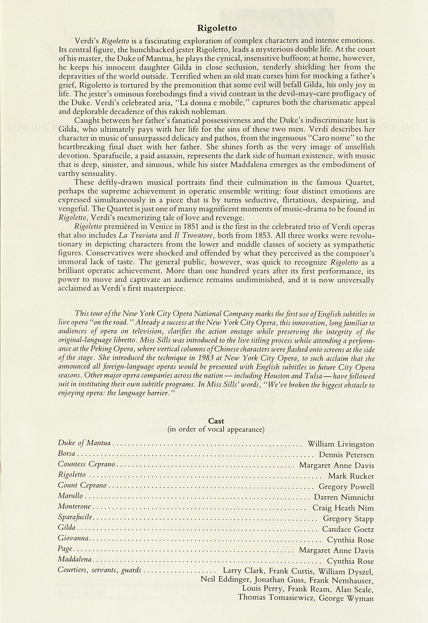 UMS Concert Program, March 5, 1985: International Presentations Of Music & Dance --  image