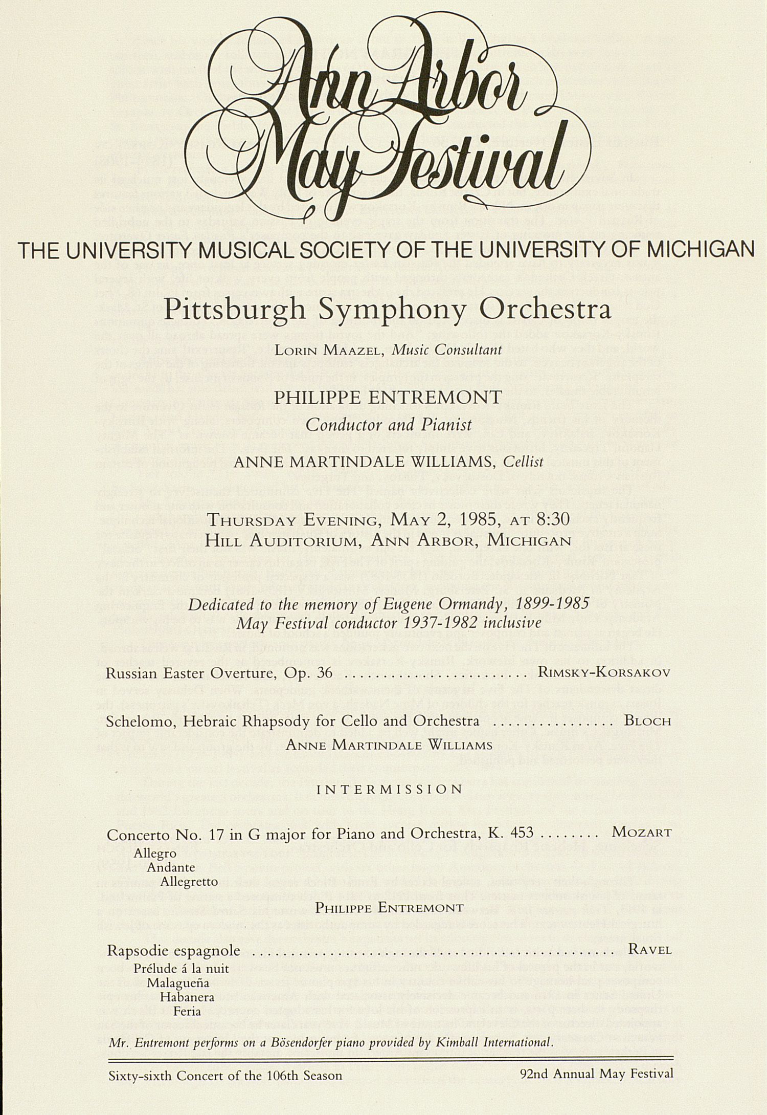 UMS Concert Program, May 2, 1985: Ann Arbor May Festival -- Pittsburgh Symphony Orchestra image