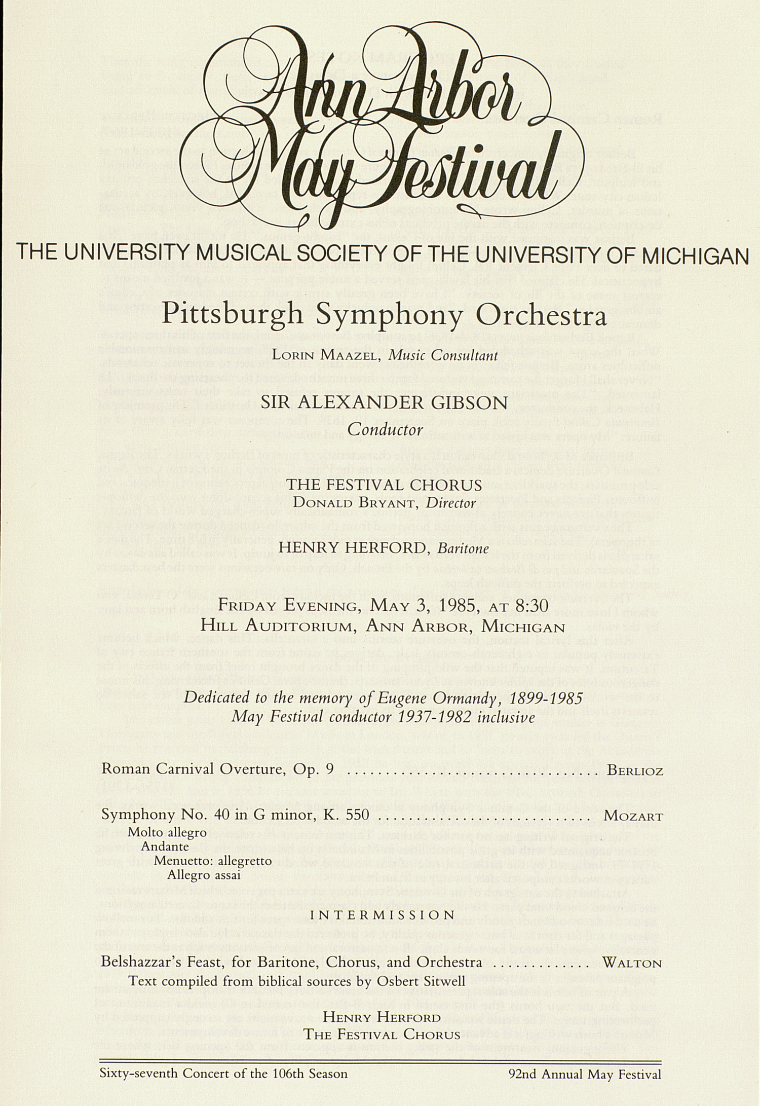 UMS Concert Program, May 3, 1985: Ann Arbor May Festival -- Pittsburgh Symphony Orchestra image