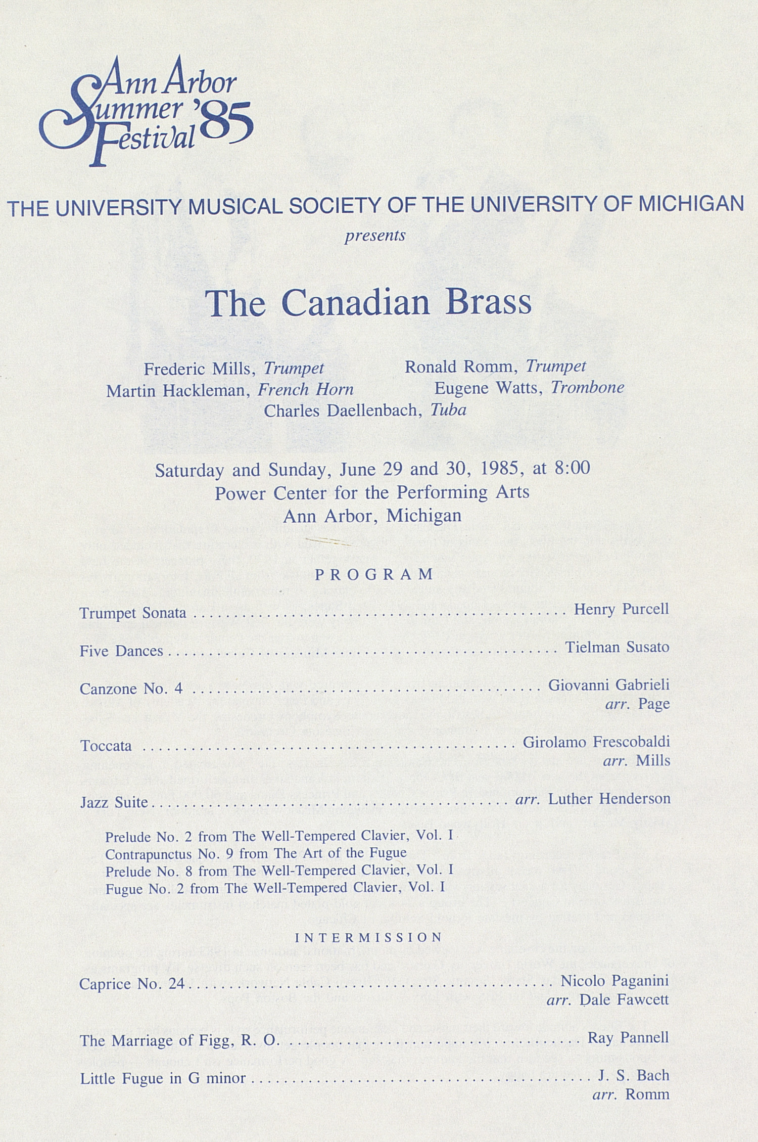 UMS Concert Program, June 29 And 30: The Canadian Brass --  image