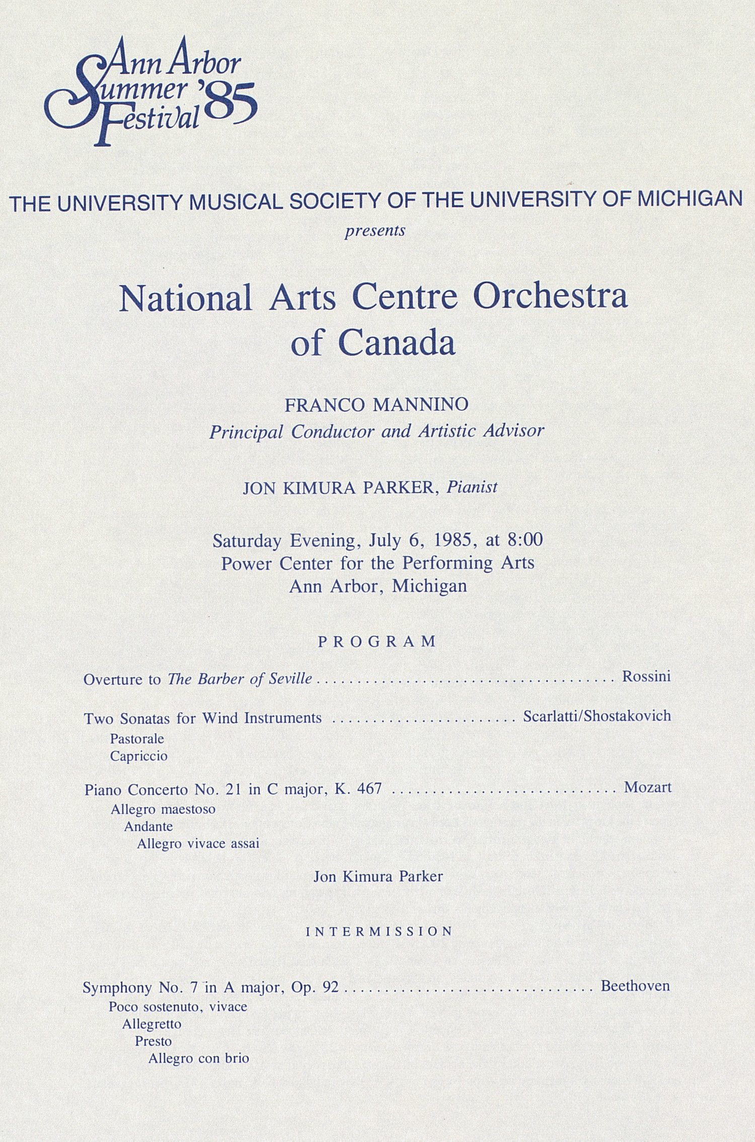 UMS Concert Program, July 6, 1985: Ann Arbor Summer '85 Festival -- National Arts Centre Orchestra Of Canada image