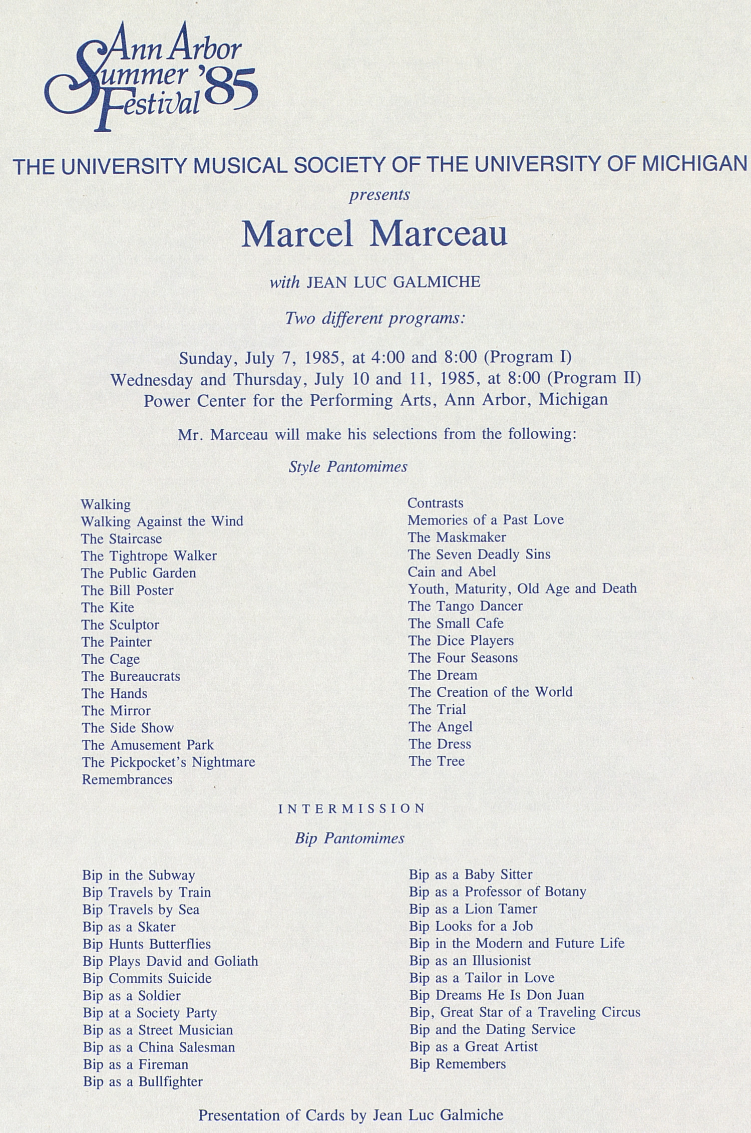 UMS Concert Program, July 7, 10 and 11, 1985: Ann Arbor Summer '85 Festival -- Marcel Marceau image