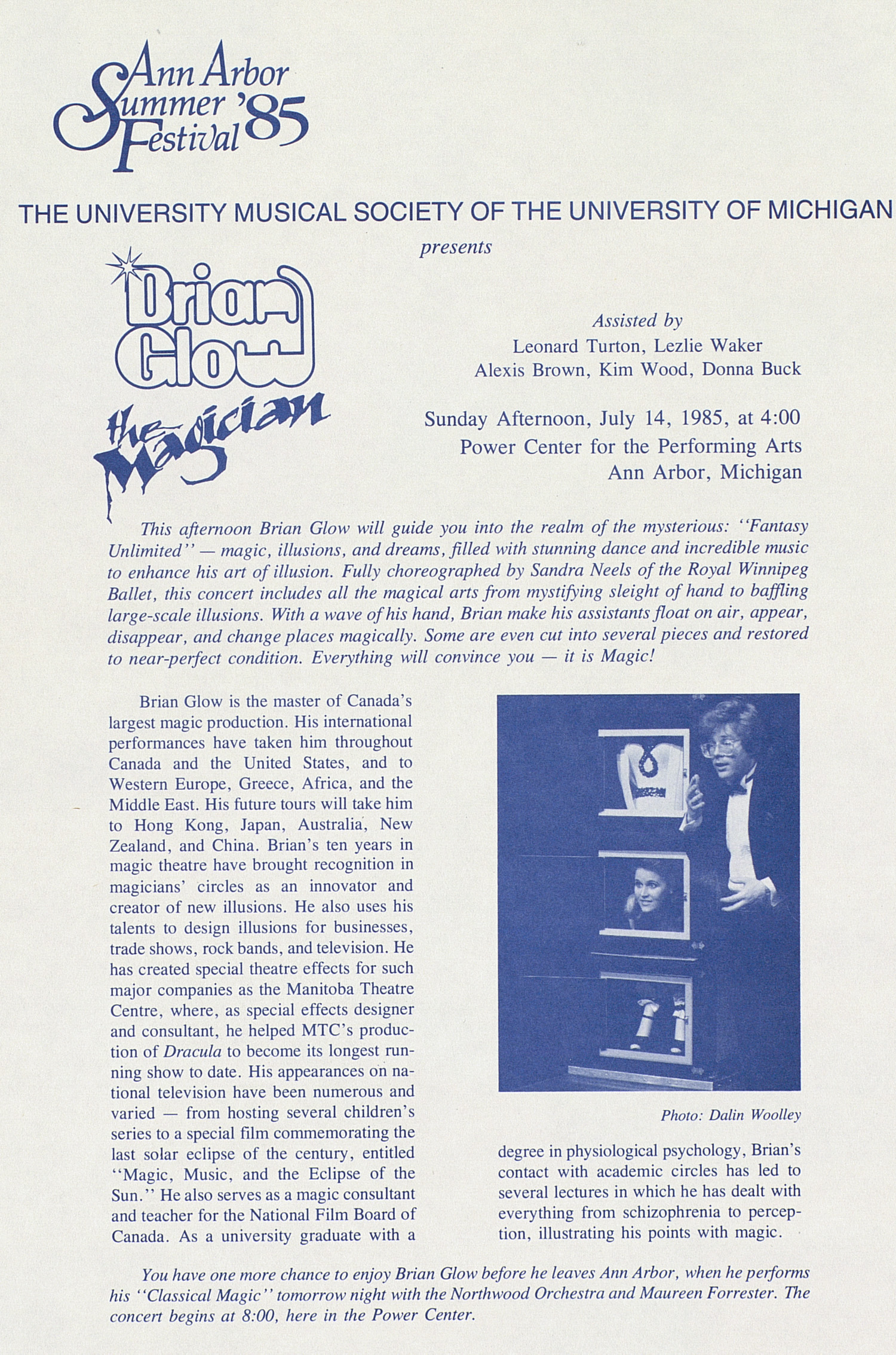 UMS Concert Program, July 14, 1985: Ann Arbor Summer '85 Festival --  image