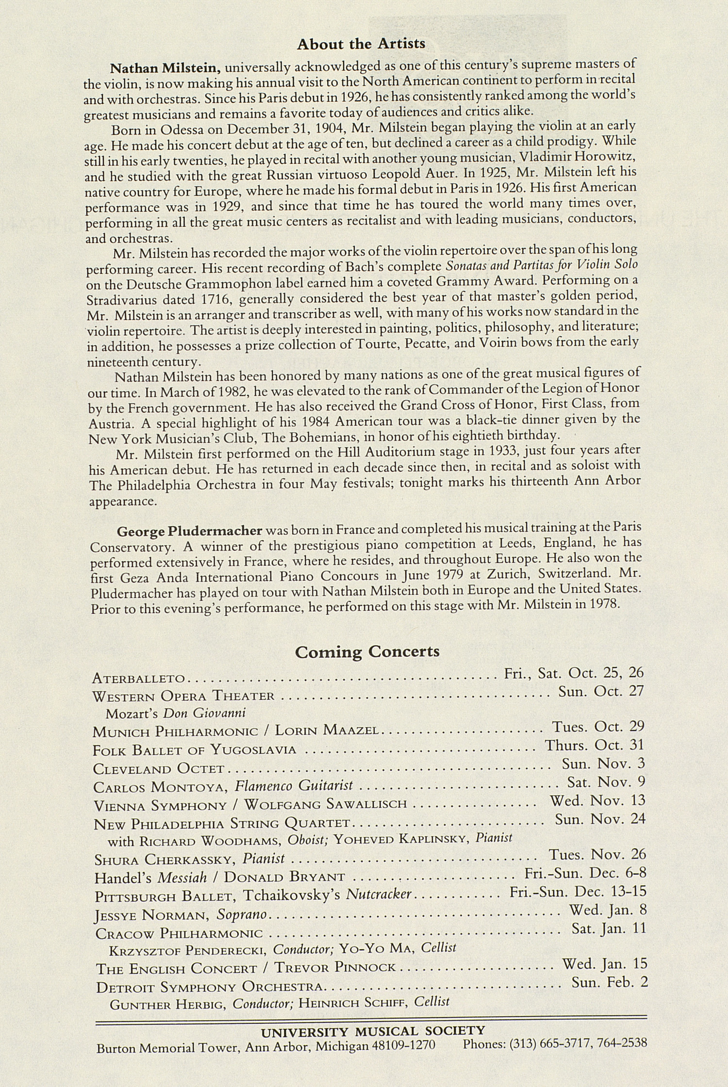 UMS Concert Program, October 24, 1985: International Presentations Of Music & Dance --  image