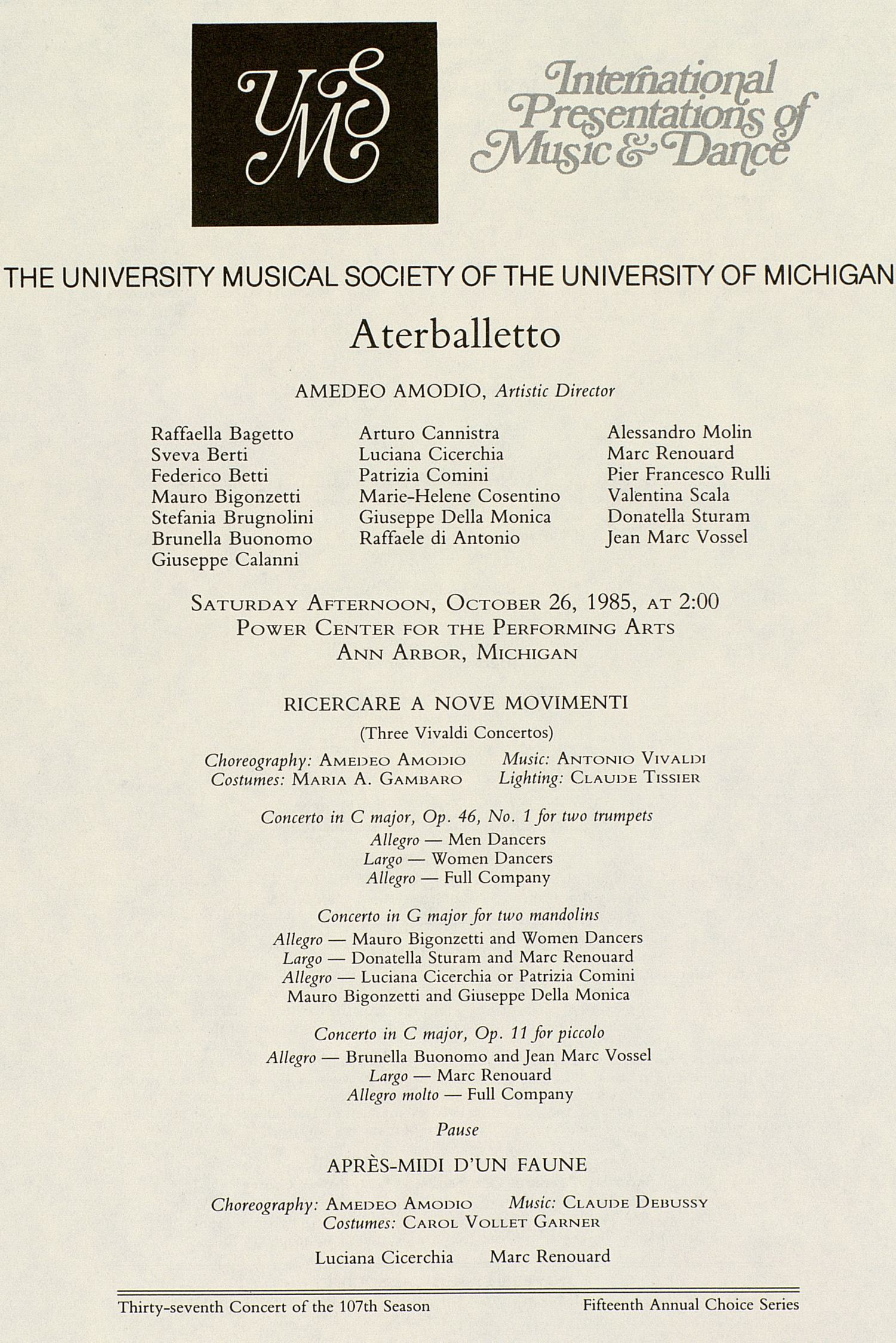 UMS Concert Program, October 26, 1985: Aterballetto --  image