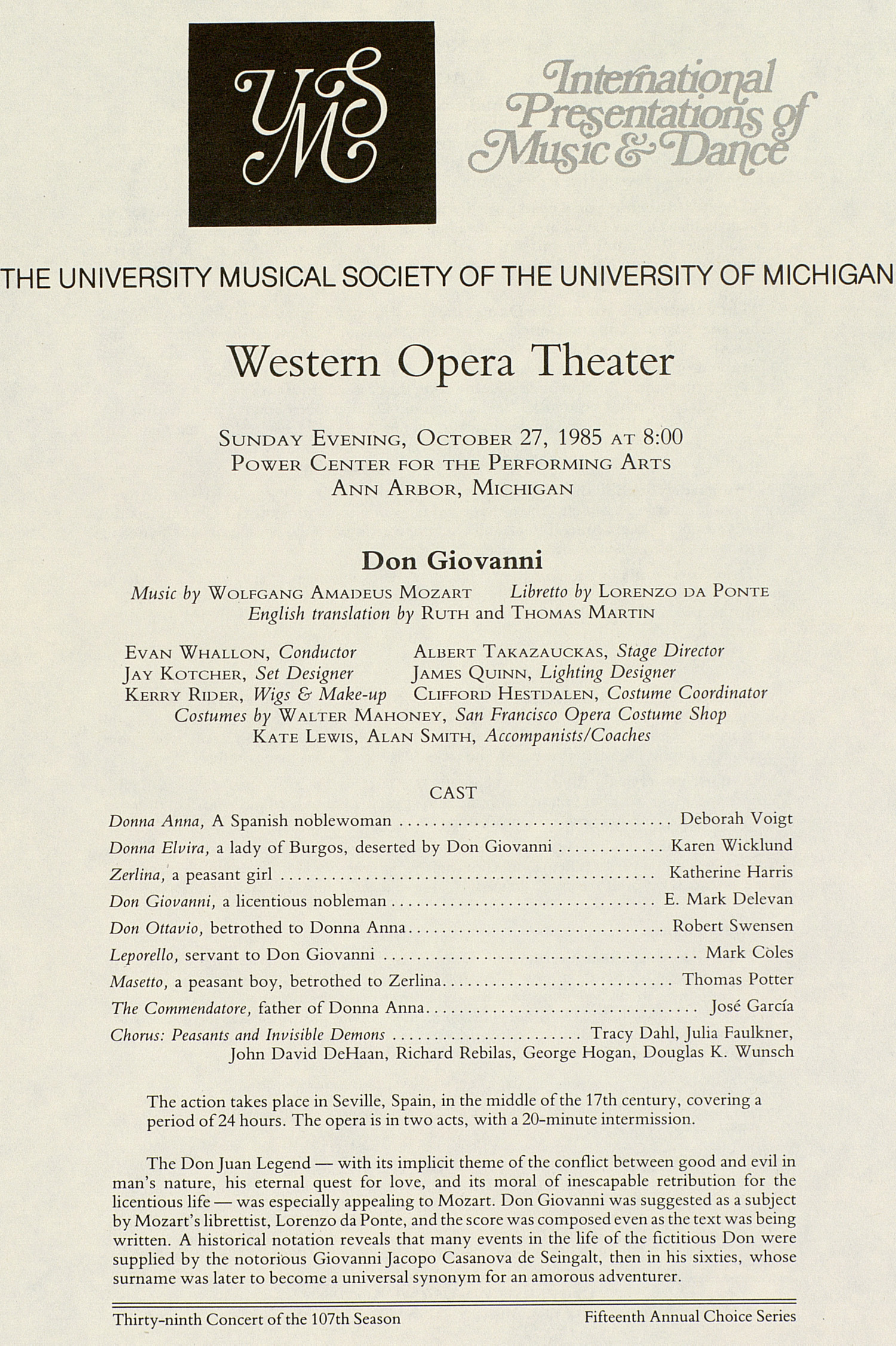 UMS Concert Program, October 27, 1985: International Presentations Of Music & Dance -- Western Opera Theater image