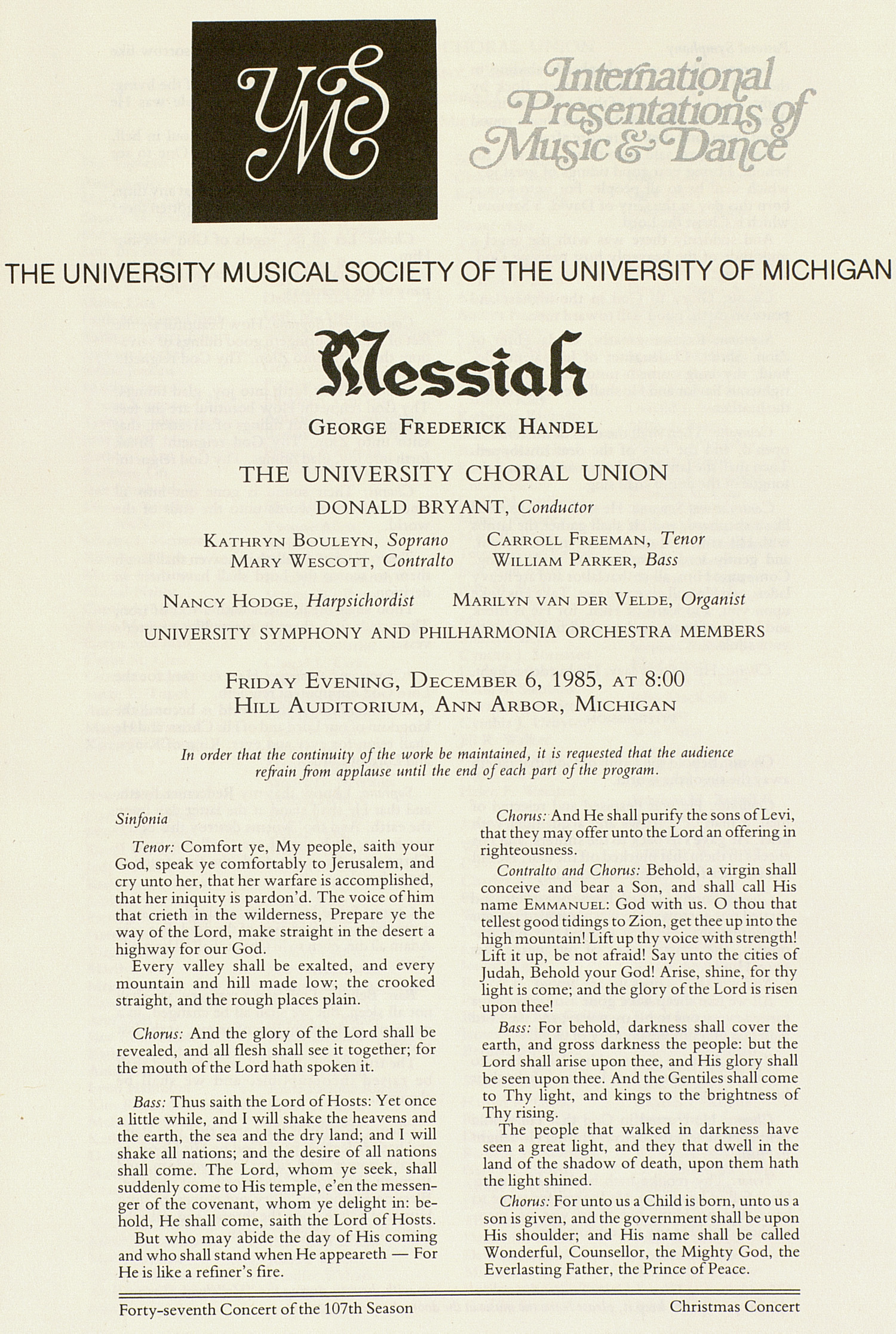 UMS Concert Program, December 6, 1985: Messiah -- George Frederick Handel image