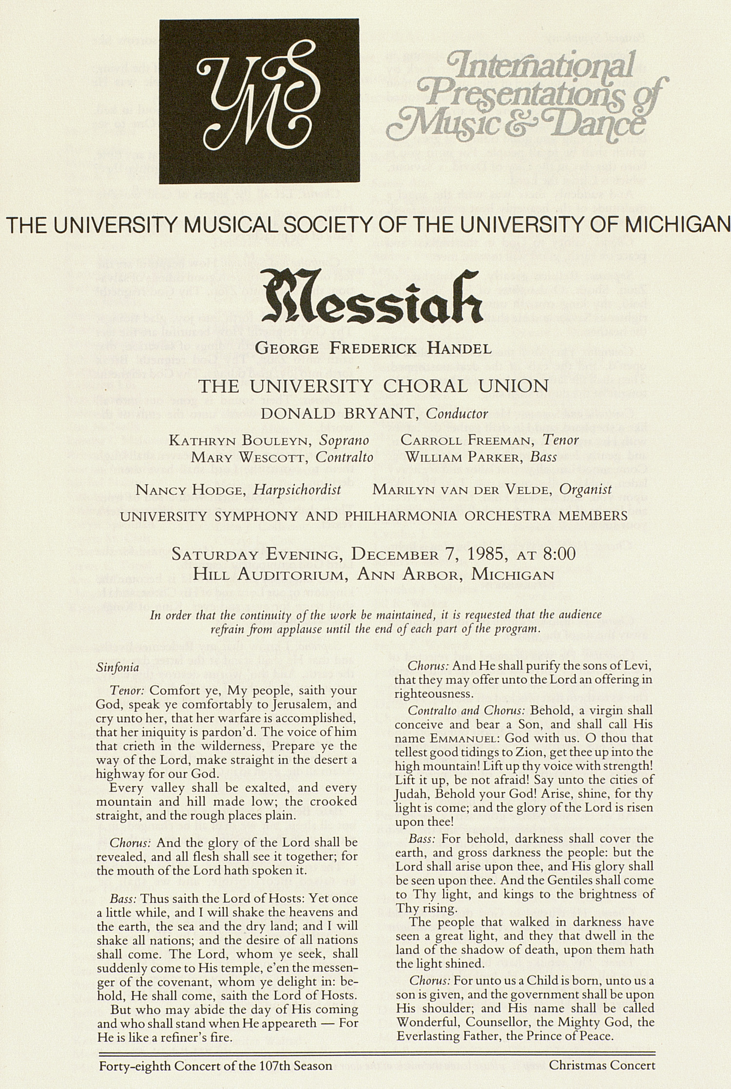 UMS Concert Program, December 7, 1985: Messiah -- George Frederick Handel image