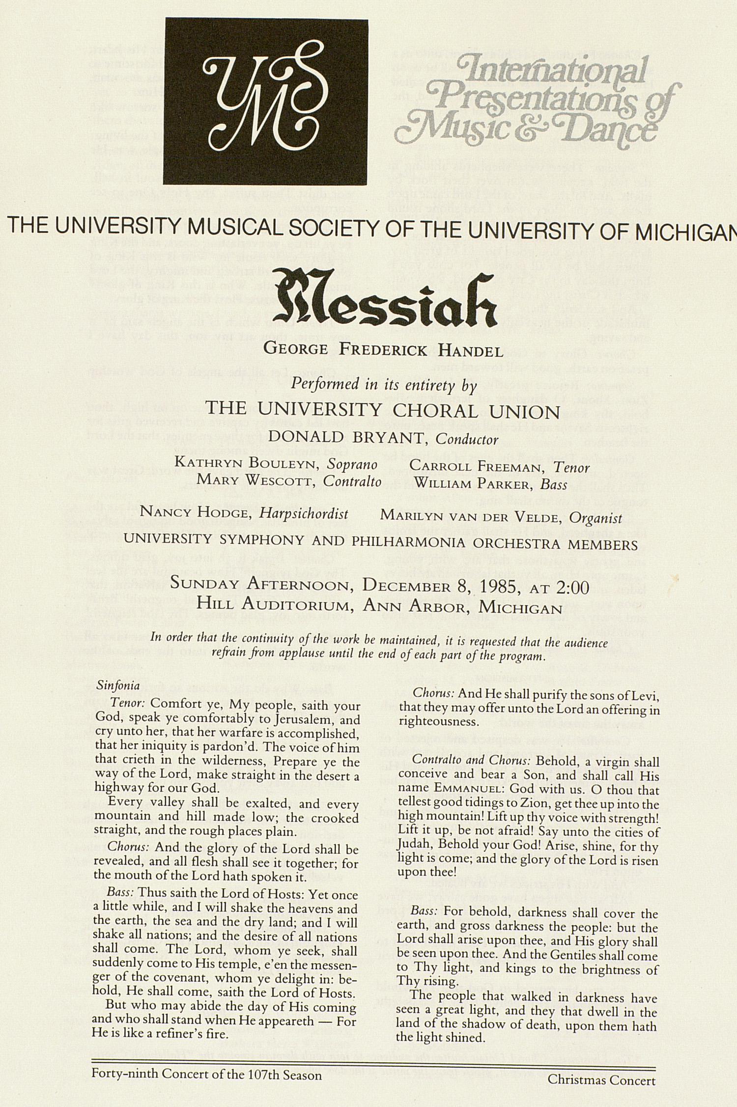UMS Concert Program, December 8, 1985: Messiah -- George Frederick Handel image