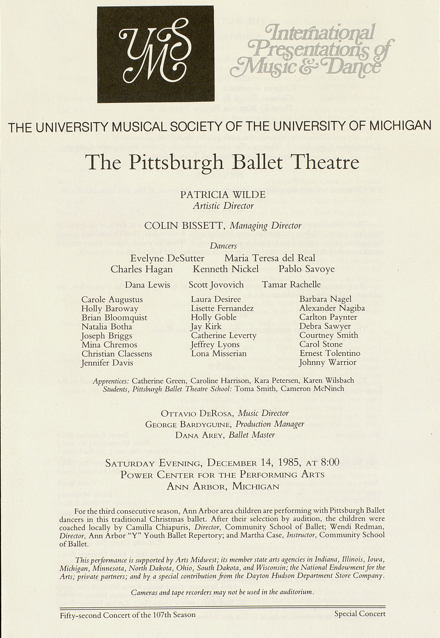 UMS Concert Program, December 14, 1985: The Pittsburgh Ballet Theatre --  image