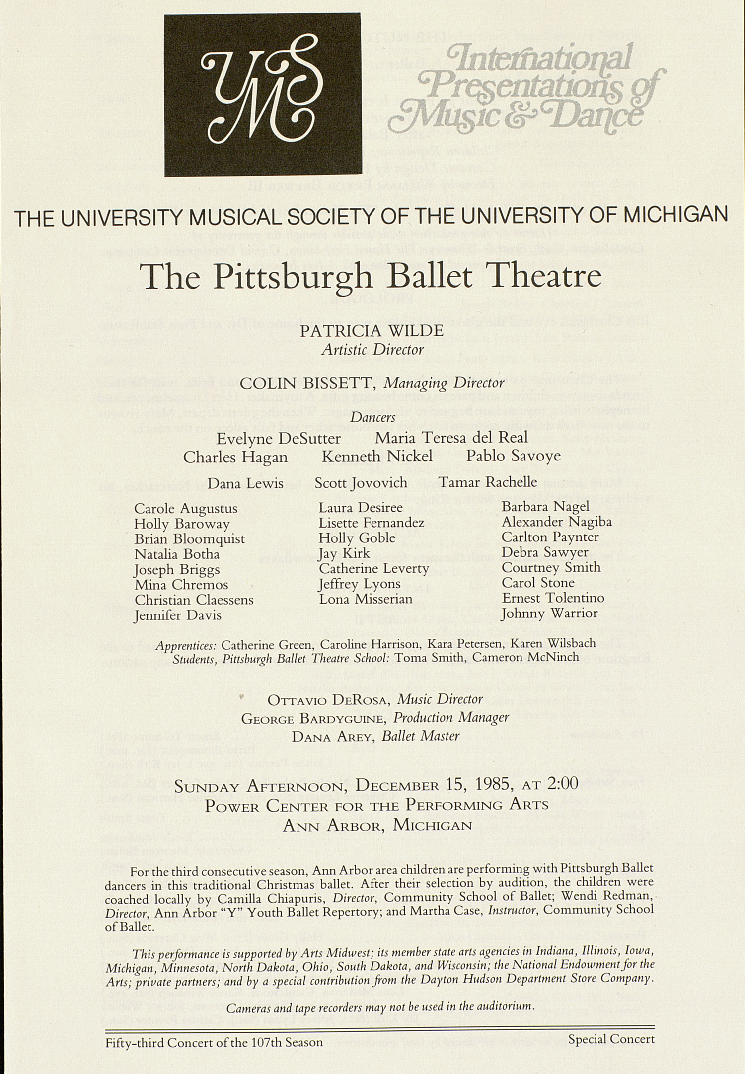 UMS Concert Program, December 15, 1985: The Pittsburgh Ballet Theatre --  image