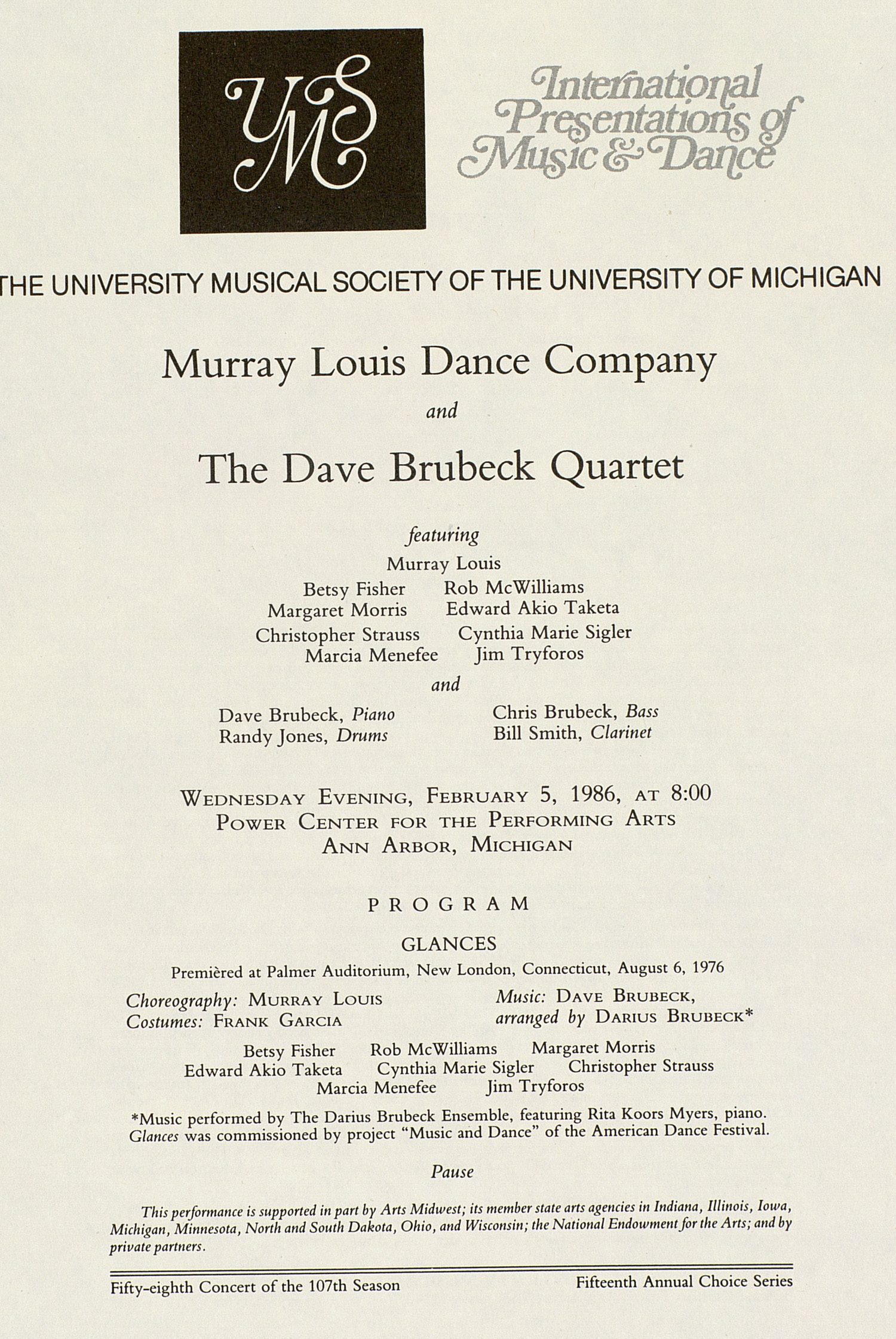 UMS Concert Program, February 5, 1986: International Presentations Of Music & Dance -- Murray Louis Dance Company image
