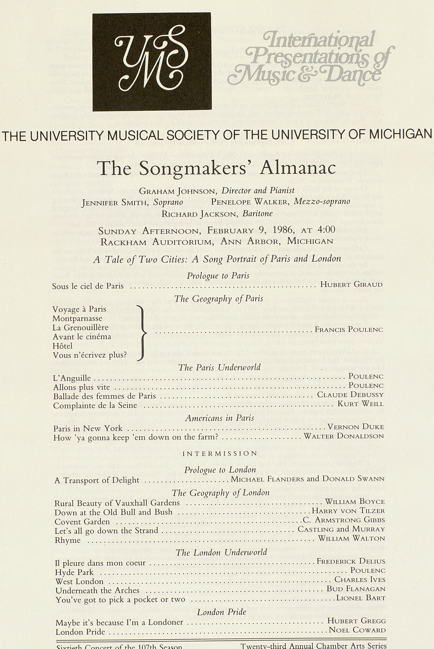 UMS Concert Program, February 9, 1986: The Songmakers' Almanac --  image