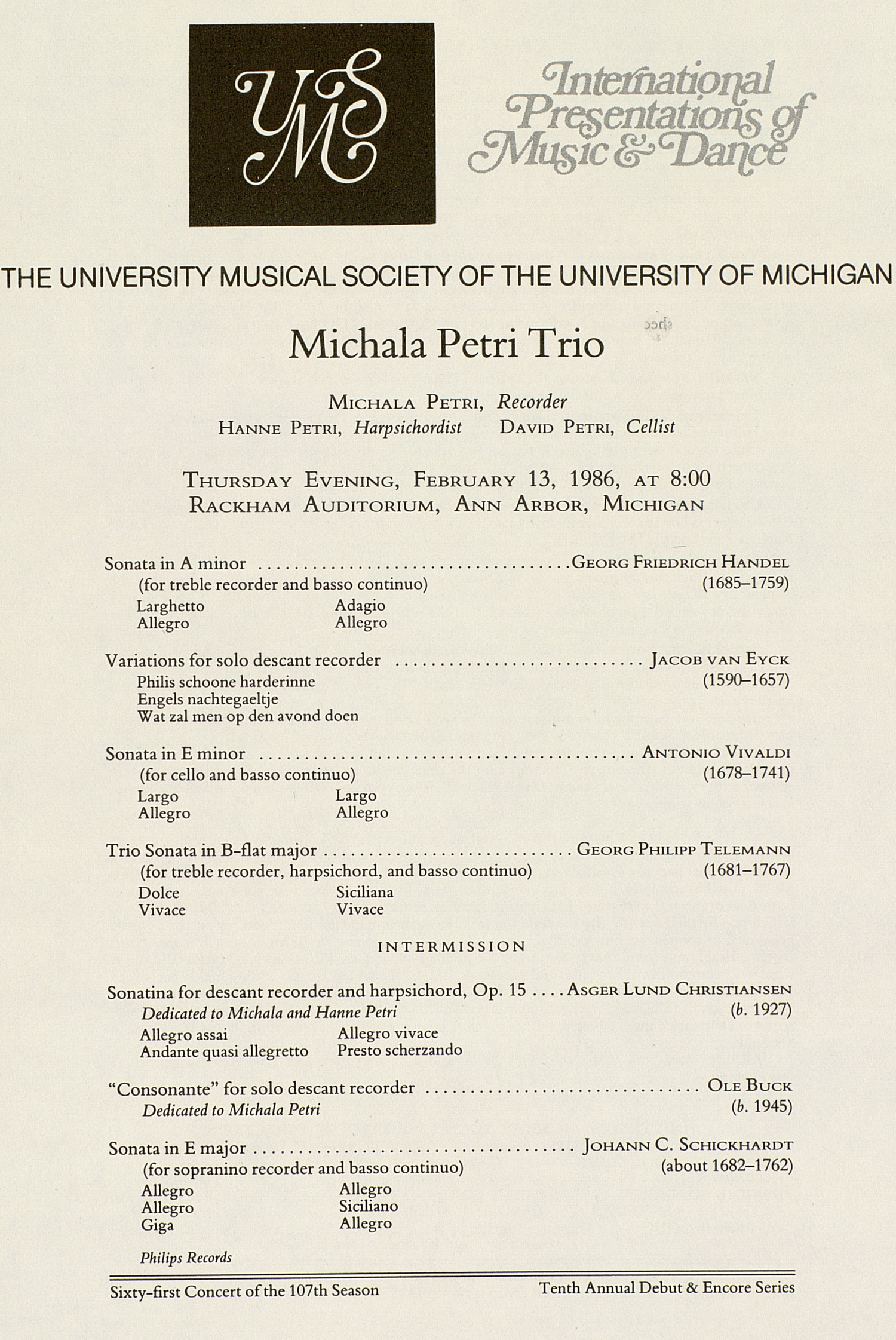 UMS Concert Program, February 13, 1986: International Presentations Of Music & Dance -- Michala Petri Trio image