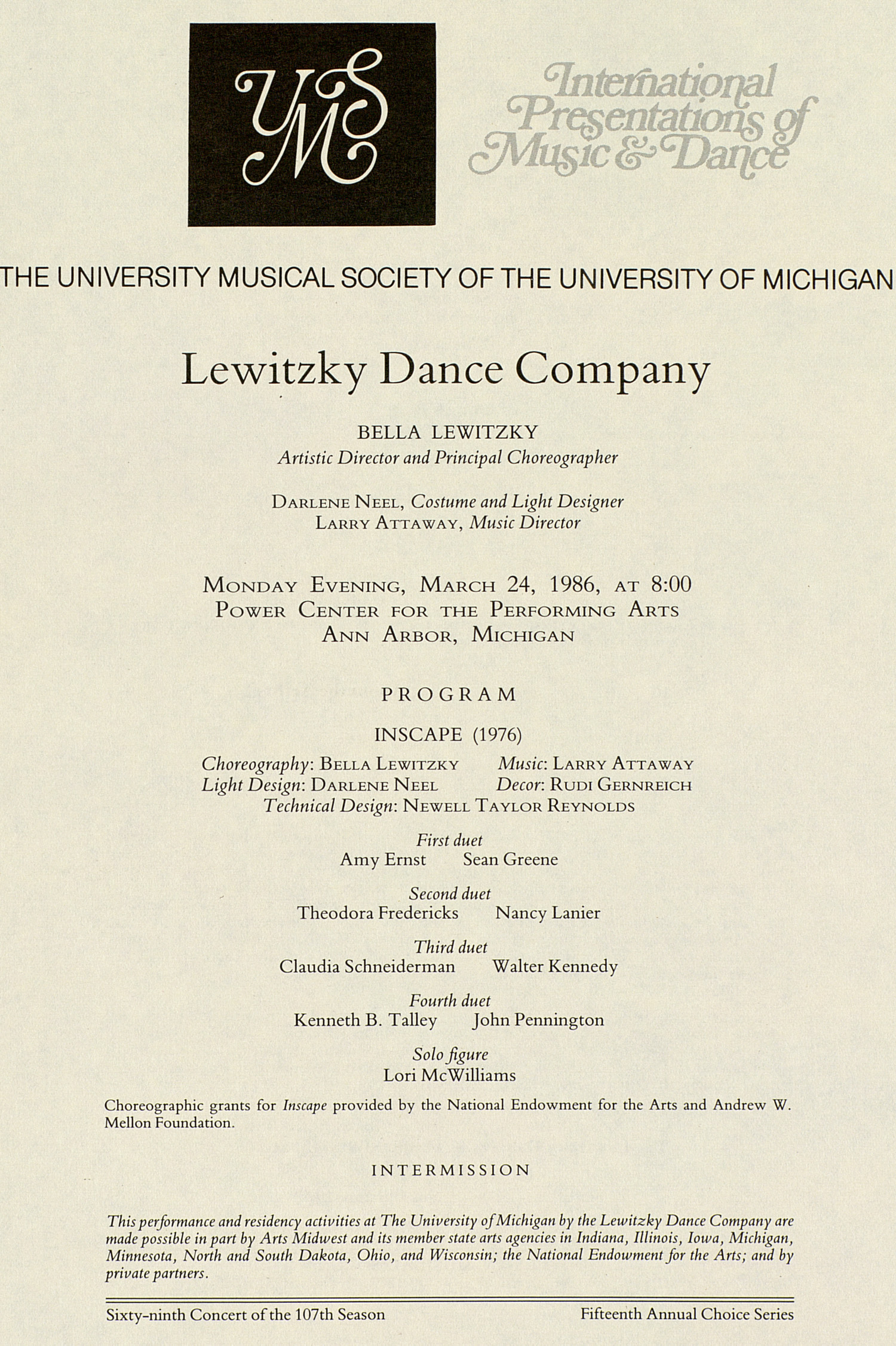 UMS Concert Program, March 24, 1986: International Presentations Of Music & Dance -- Lewitzky Dance Company image