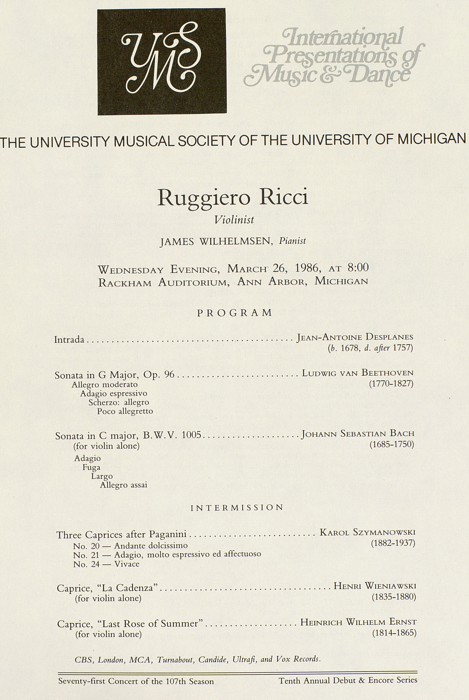 UMS Concert Program, March 26, 1986: International Presentations Of Music & Dance --  image