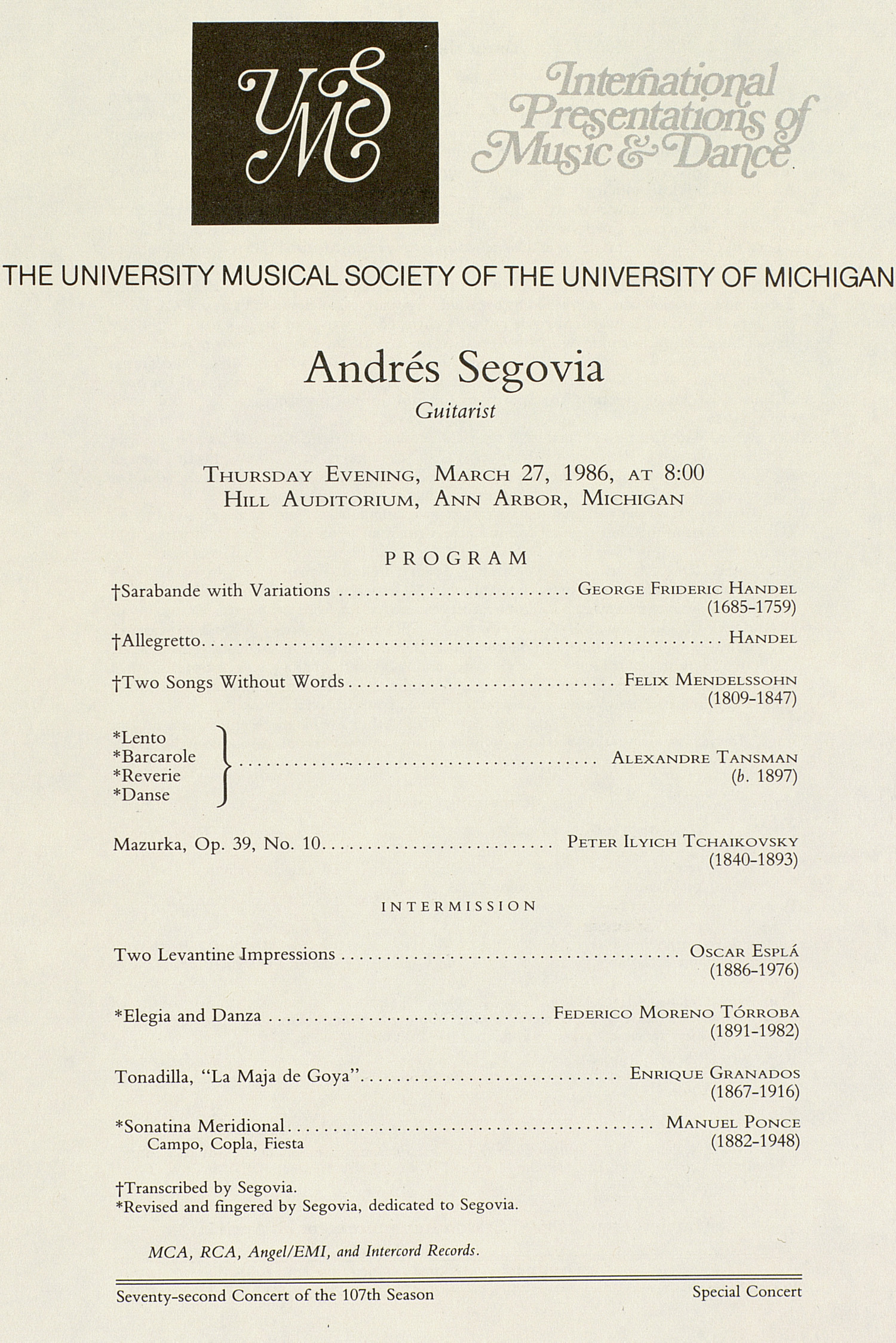 UMS Concert Program, March 27, 1986: International Presentations Of Music & Dance --  image
