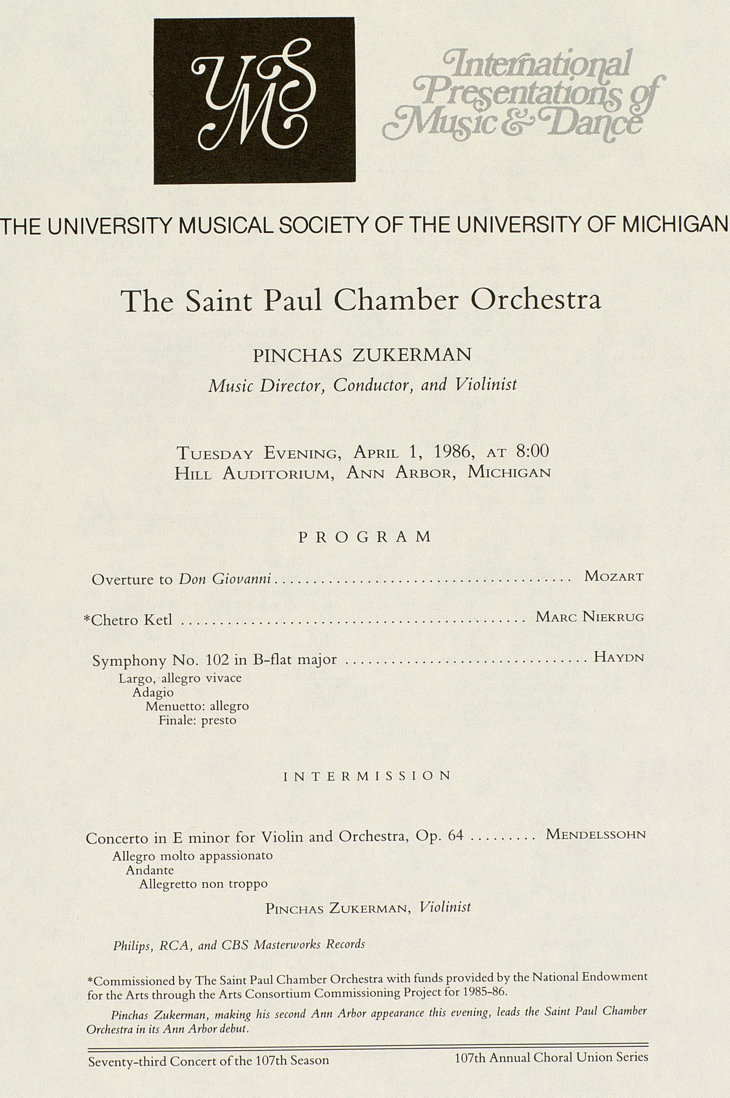 UMS Concert Program, April 1, 1986: International Presentations Of Music & Dance -- The Saint Paul Chamber Orchestra image