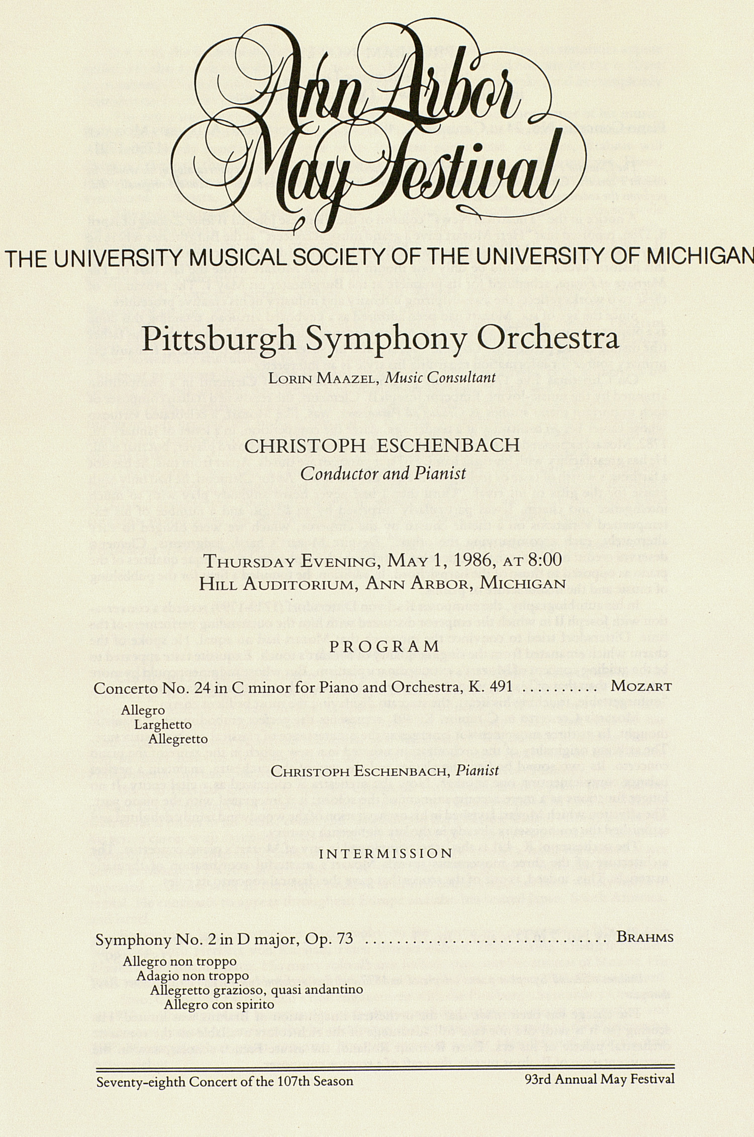 UMS Concert Program, May 1, 1986: Ann Arbor May Festival -- Pittsburgh Symphony Orchestra image