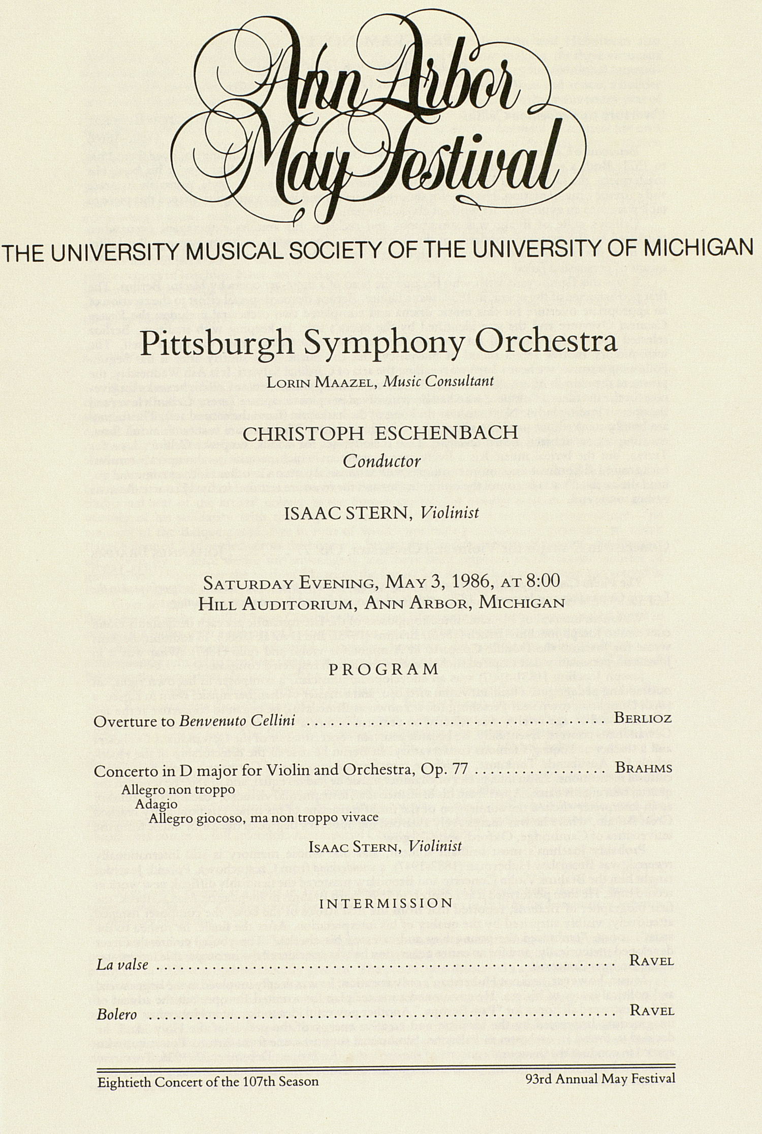 UMS Concert Program, May 3, 1986: Ann Arbor May Festival -- Pittsburgh Symphony Orchestra image