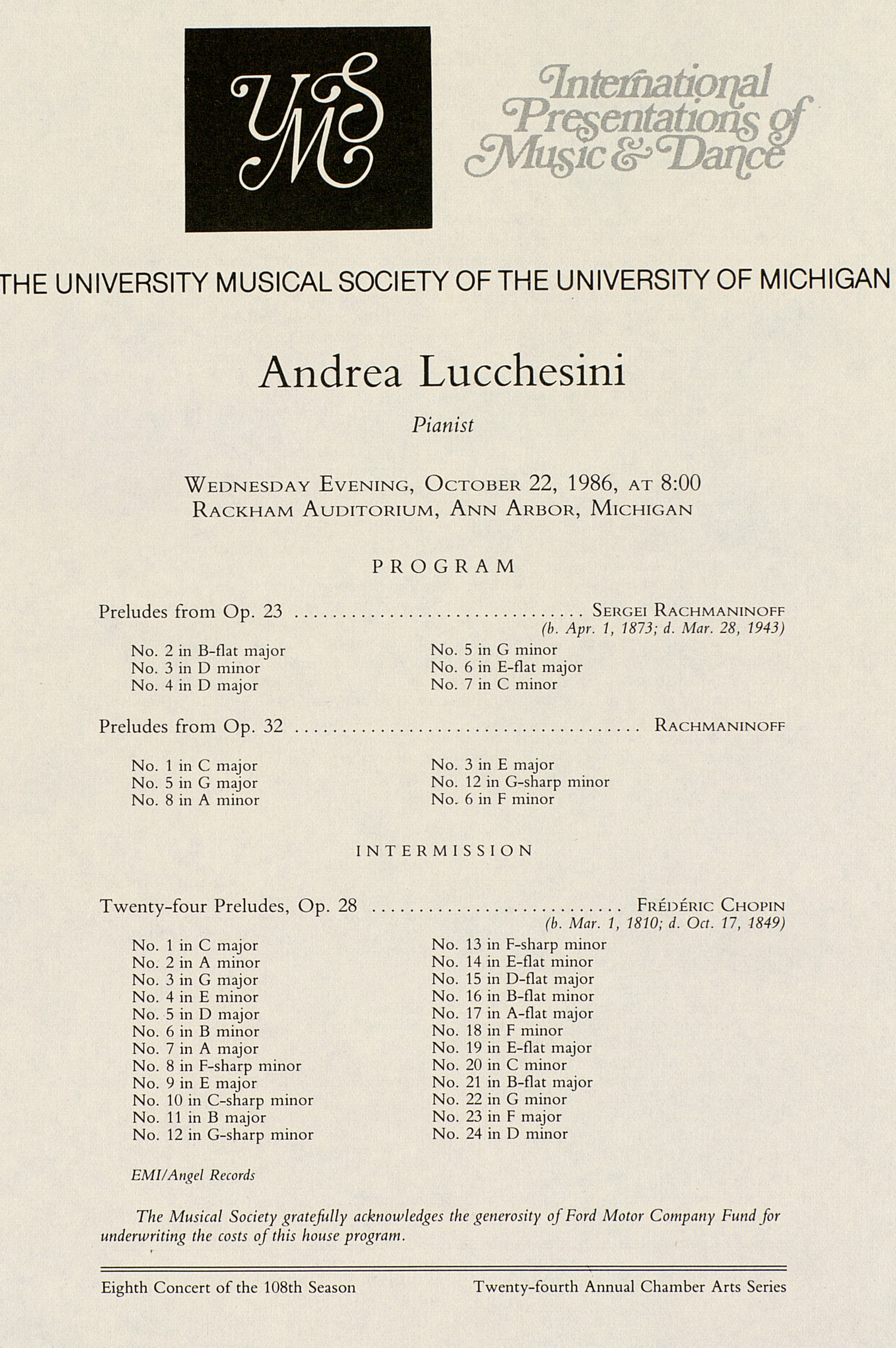 UMS Concert Program, October 22, 1986: International Presentations Of Music & Dance --  image