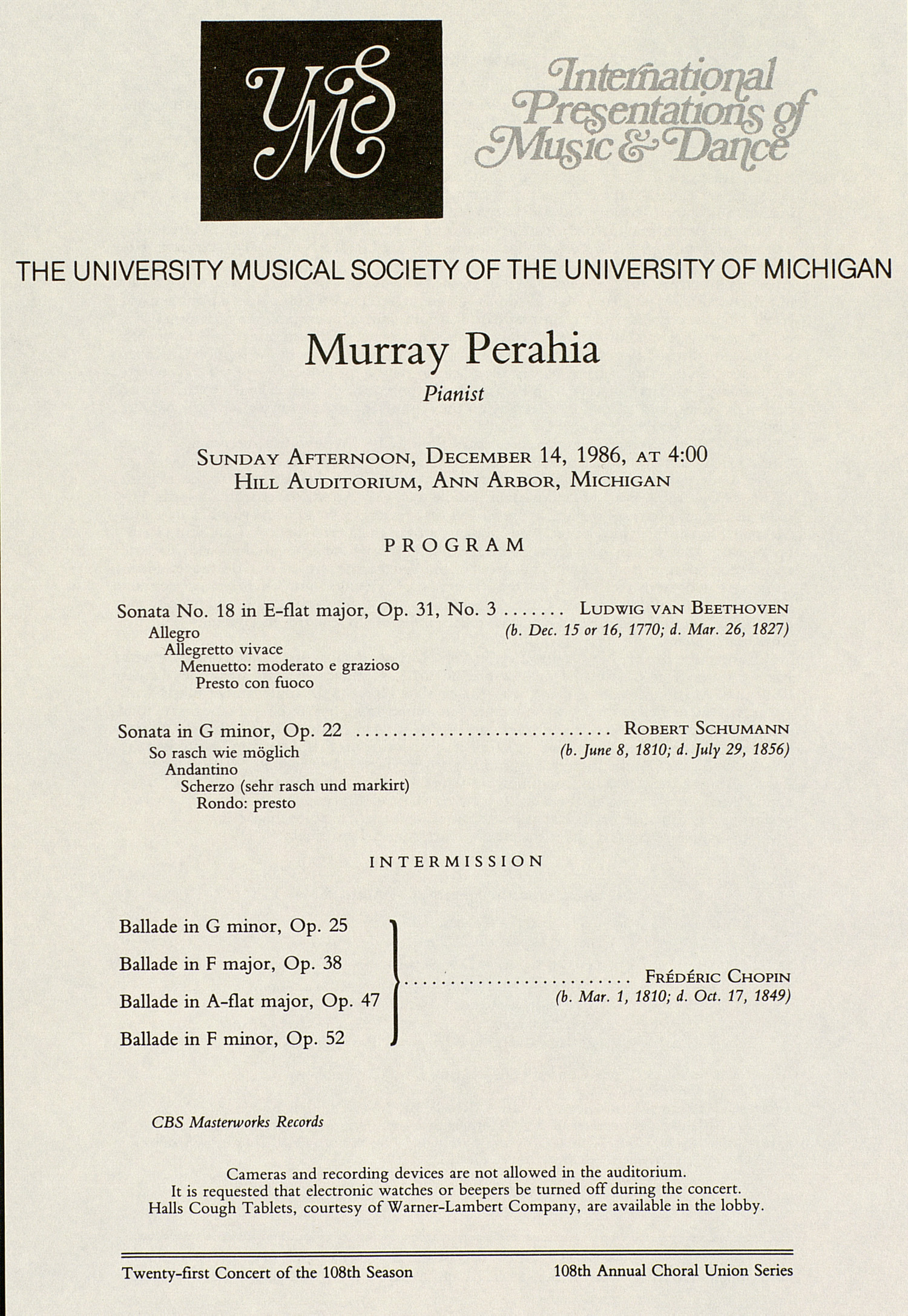 UMS Concert Program, December 14, 1986: International Presentations Of Music & Dance --  image